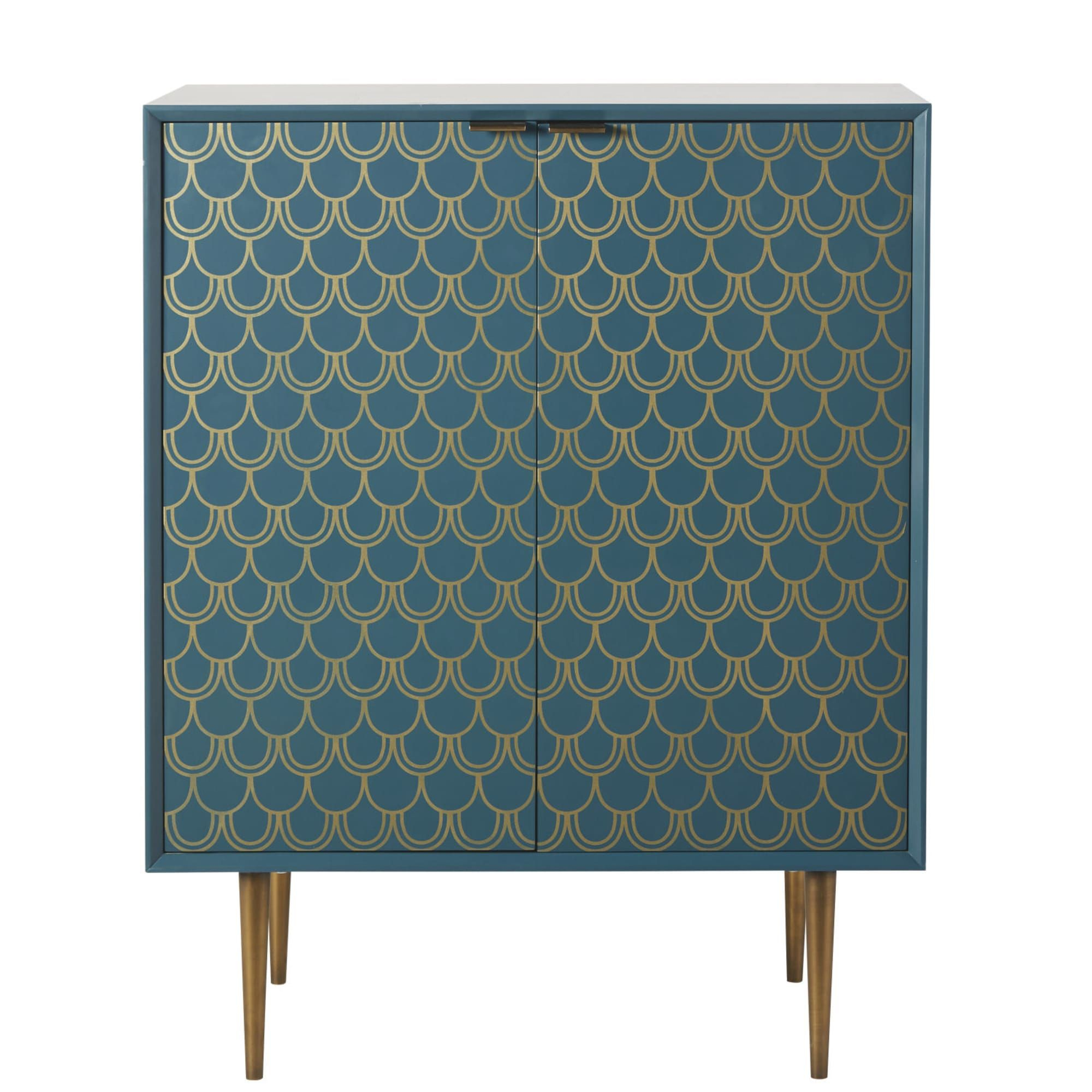 Turquoise Blue 2 Door Sideboard With Gold Graphic Print In Pertaining To Cher Sideboards (View 30 of 30)