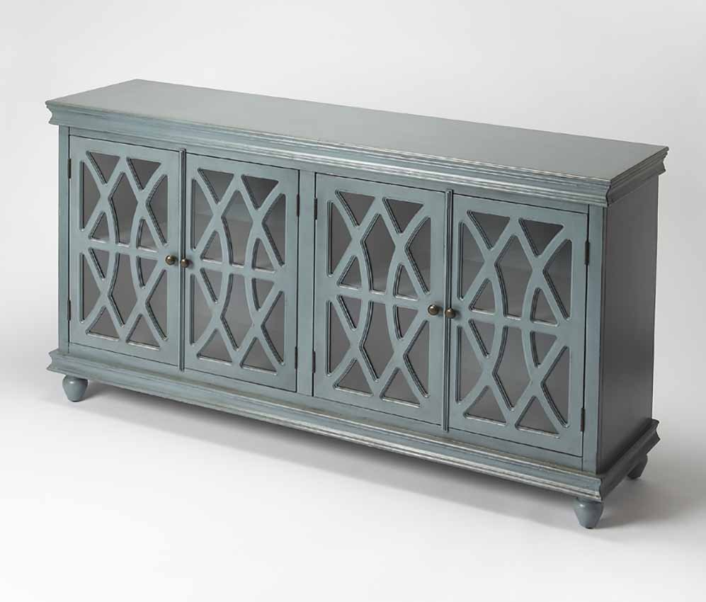 Twilight Blue Sideboard Lattice Cabinet Overlay Butler Within Simple Living Layla Black Buffets (View 15 of 30)