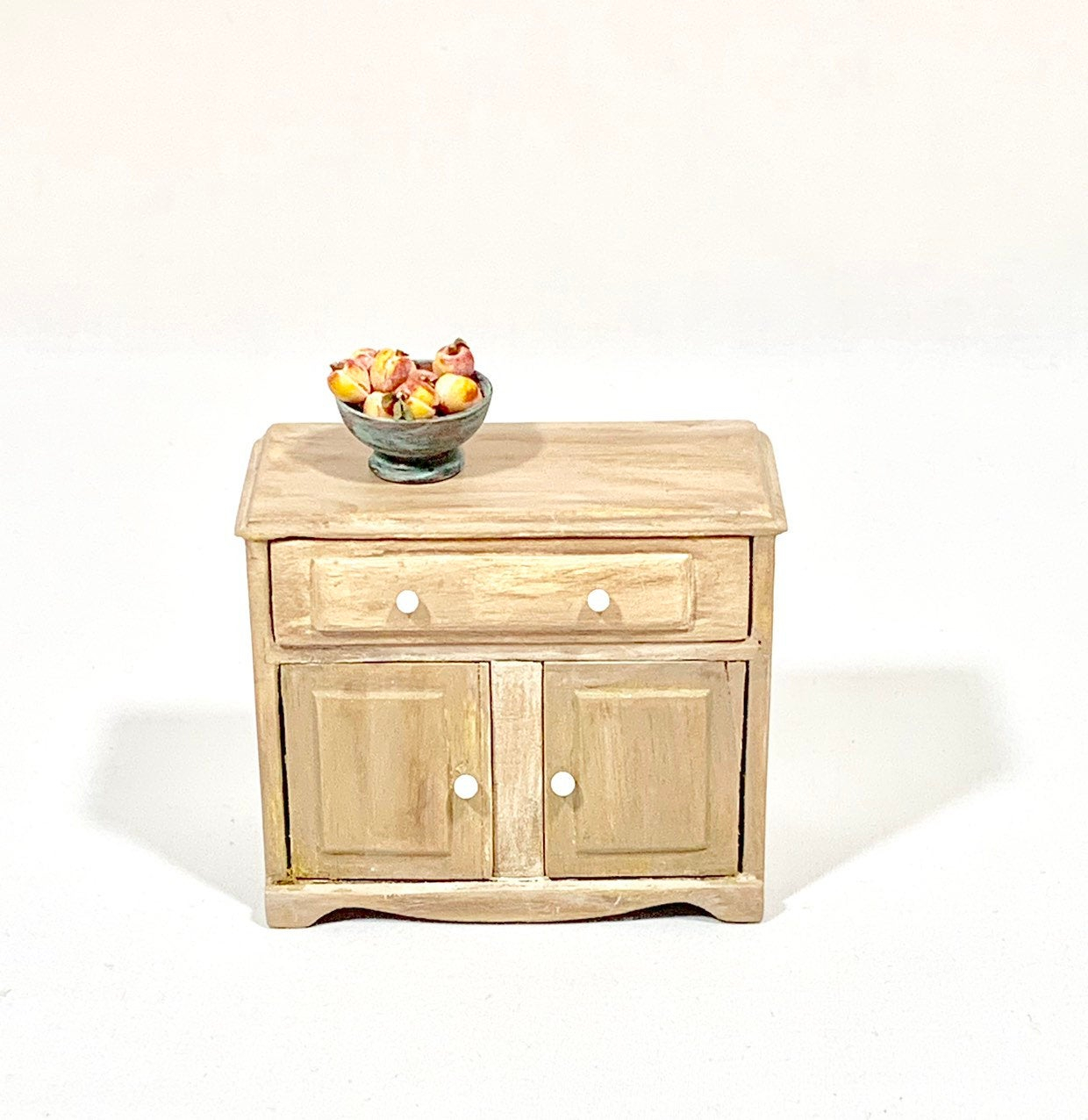 Upcycled Vintage Wood Dollhouse Buffet Table Hutch Miniature Wooden Doll  Furniture throughout Deep Blue Fern Credenzas (Image 29 of 30)