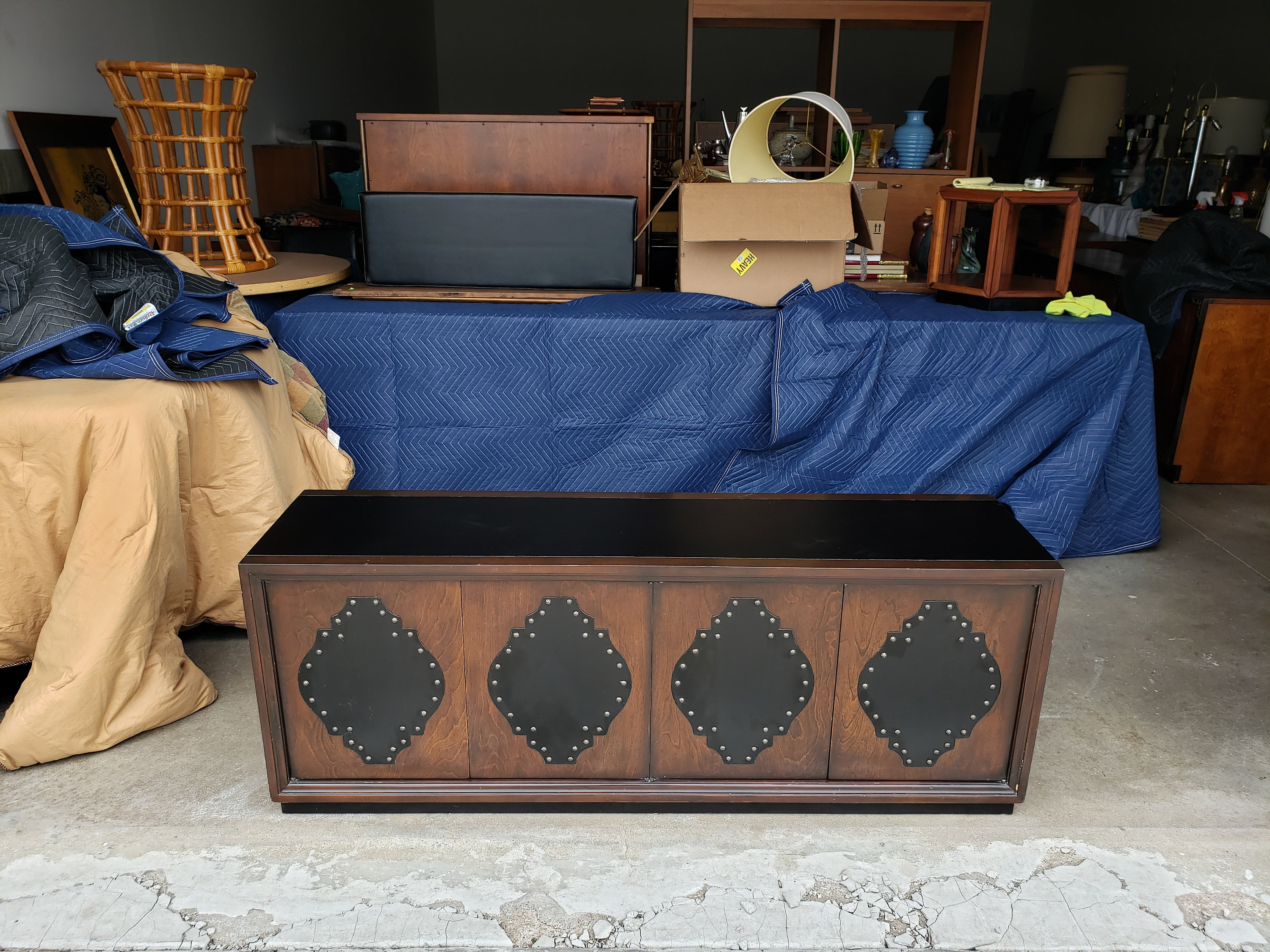 Vintage 1970's Console Cabinet Low Profile Faux Leather Top Mid Century Southwestern Style Recessed Plinth Base Black Lacquer Throughout Southwest Pink Credenzas (View 30 of 30)