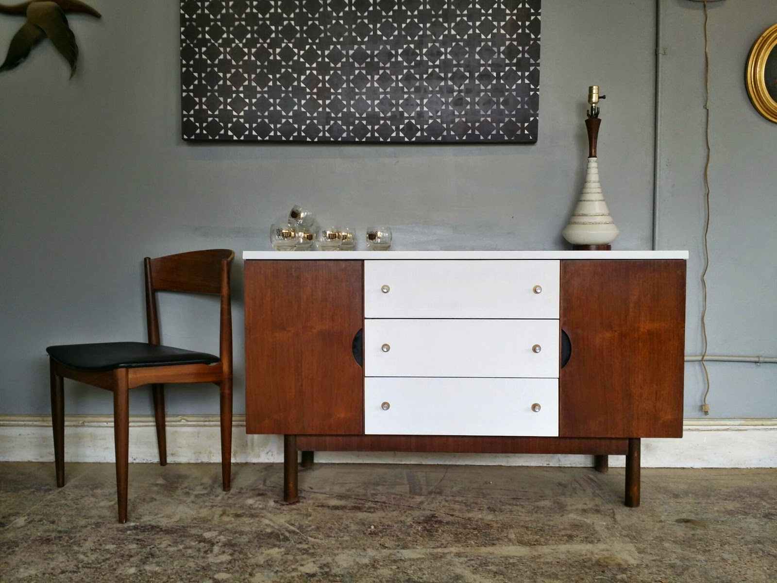 Vintage Ground: Mid Century White Wood Buffet / Media In Mid Century White Buffets (View 3 of 30)