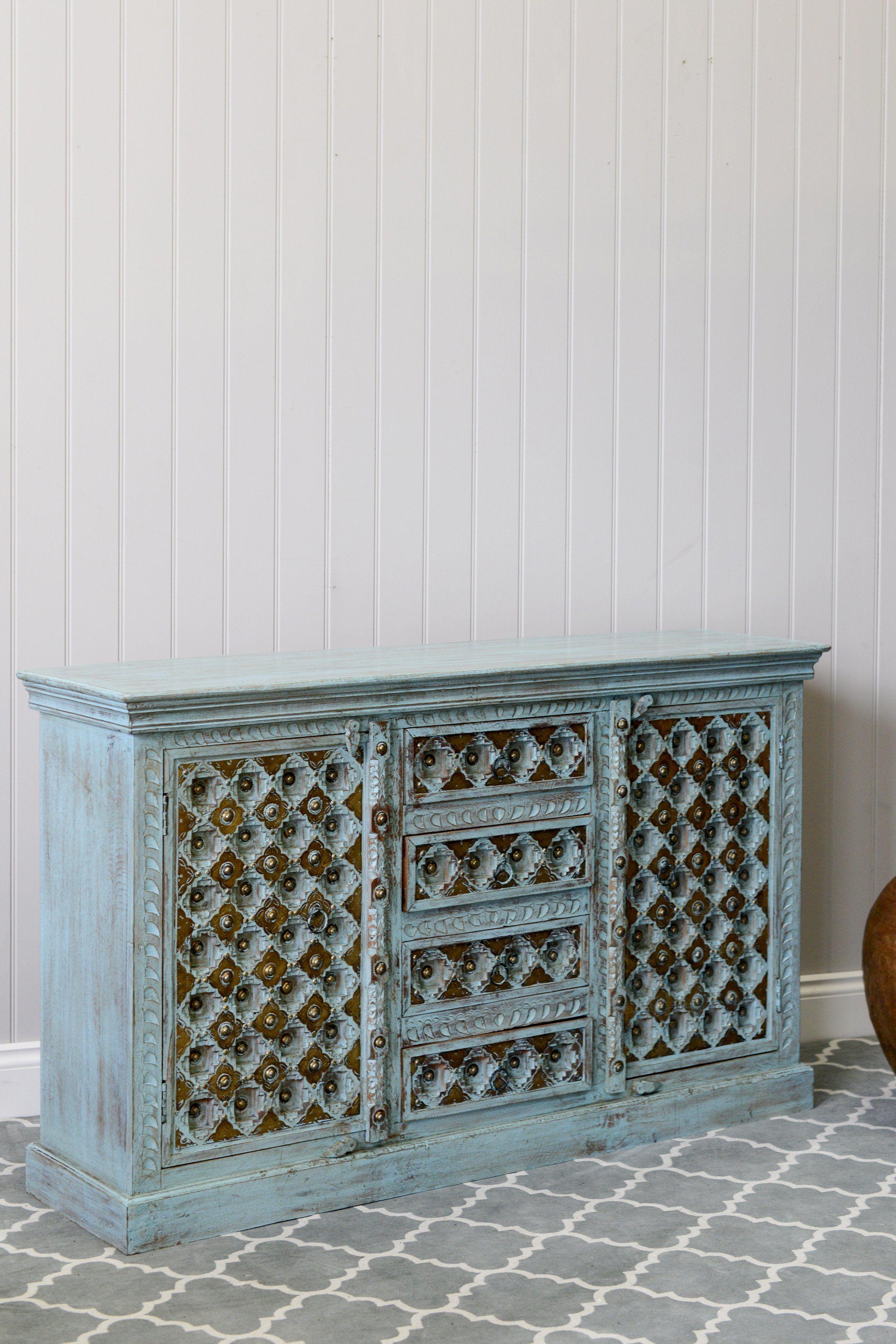 Vintage Pale Blue Wooden Sideboard   Vinterior.co   Interior regarding Alkmene Sideboards (Image 28 of 30)
