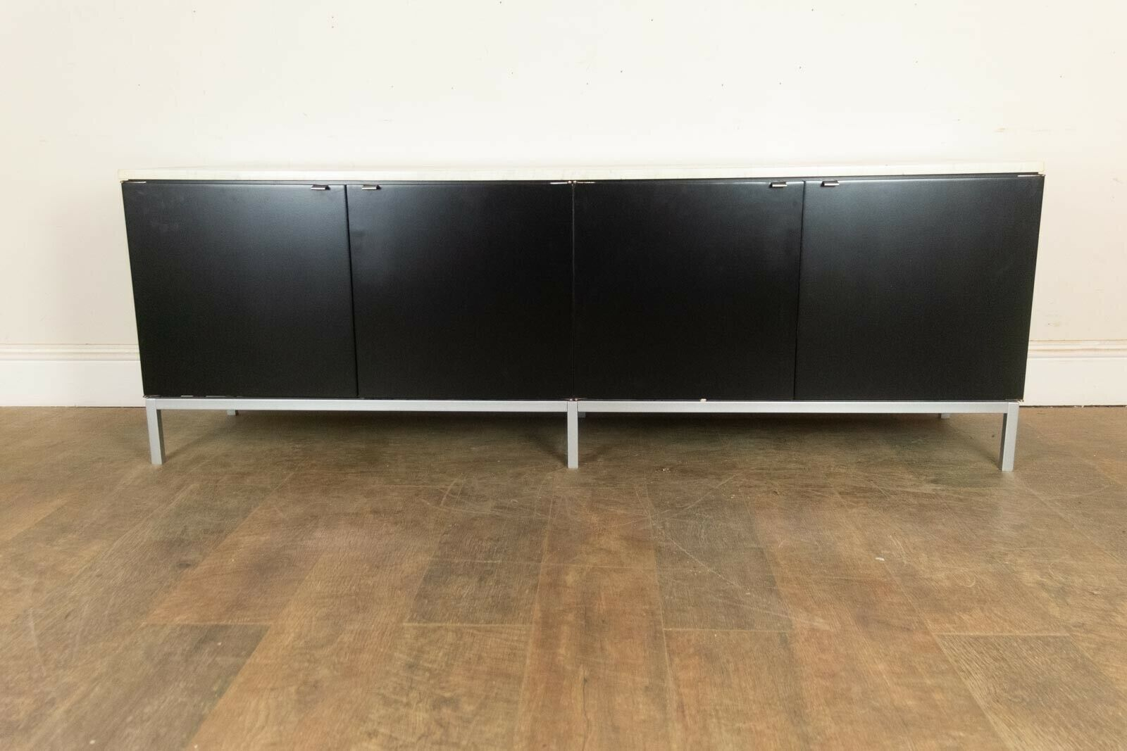 Vintage Retro Florence Knoll Low Credenza With Marble Top Sideboard Matt Black With Regard To Ocean Marble Credenzas (View 24 of 30)