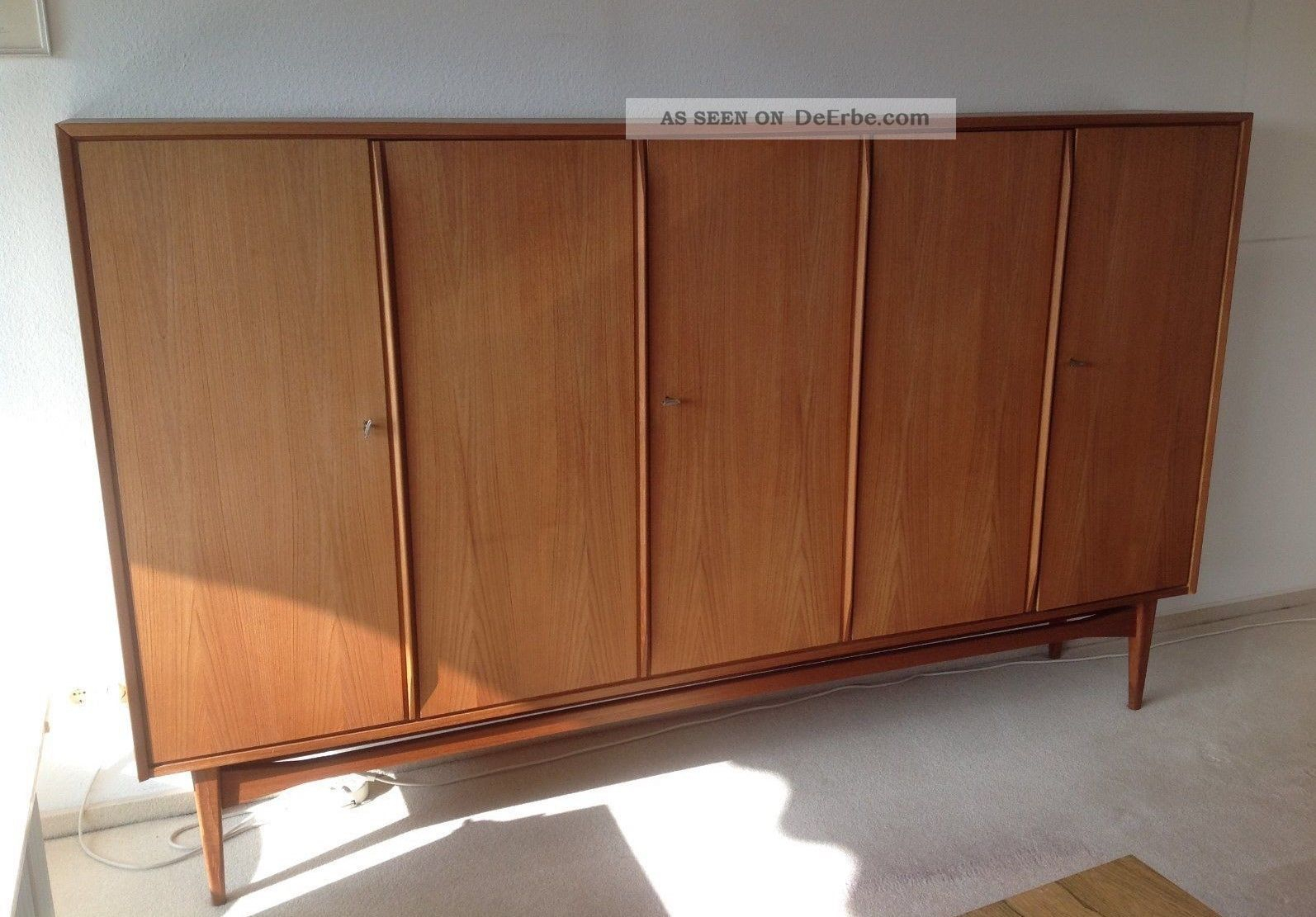 Vintage Teak Highboard / Sideboard / Wohnschrank 60Er Jahre pertaining to Mid-Century Brown And Grey Sideboards (Image 29 of 30)