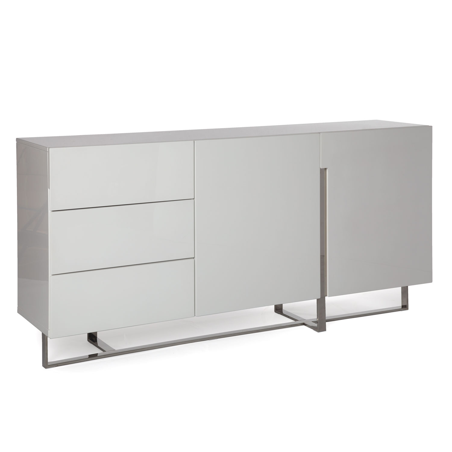 Voco | Sideboard – High Gloss White With White Wood And Chrome Metal High Gloss Buffets (View 4 of 30)