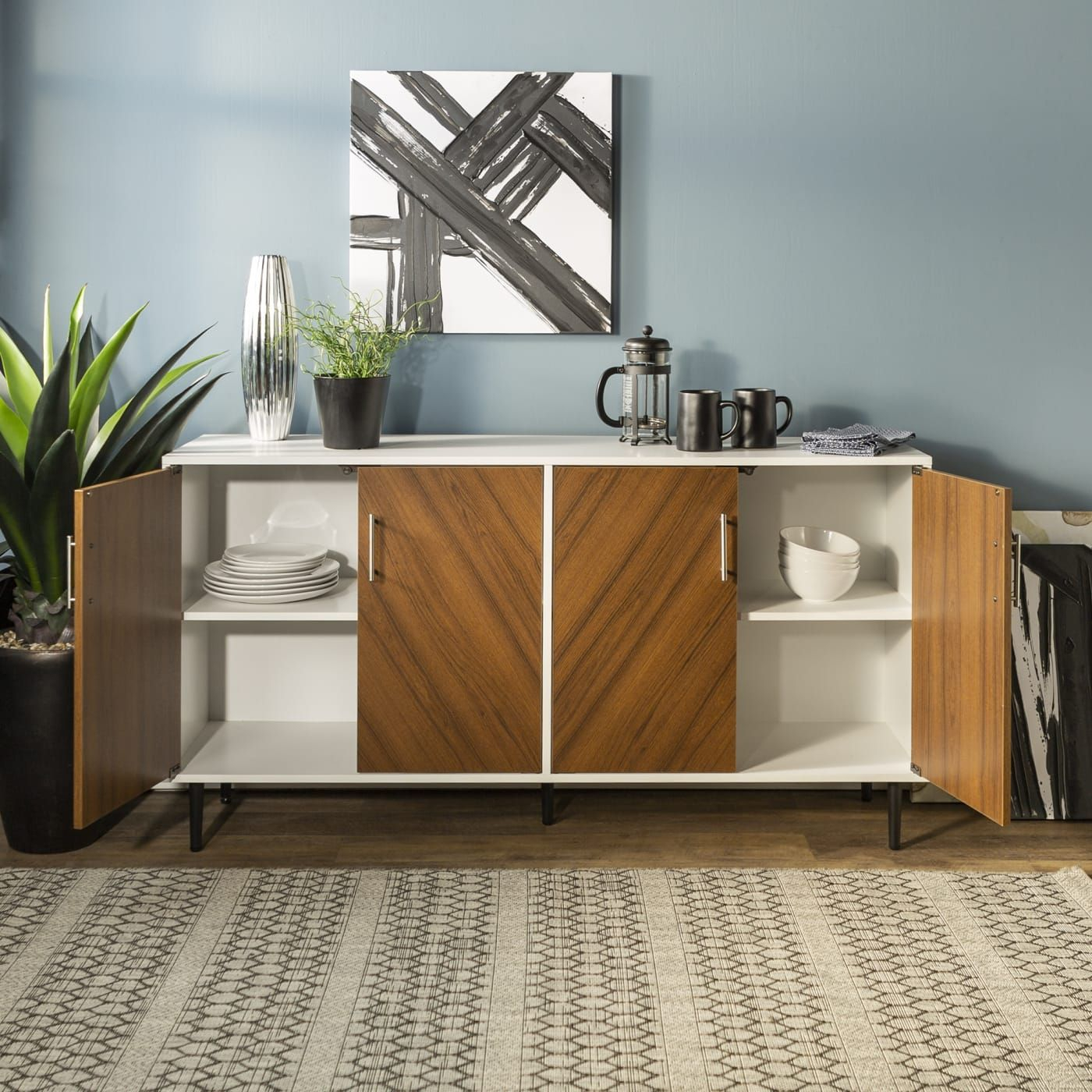 Walker Edison Bu58hpbmwht In 2019 | Hot Sellers | Midcentury Pertaining To Keiko Modern Bookmatch Sideboards (View 3 of 30)