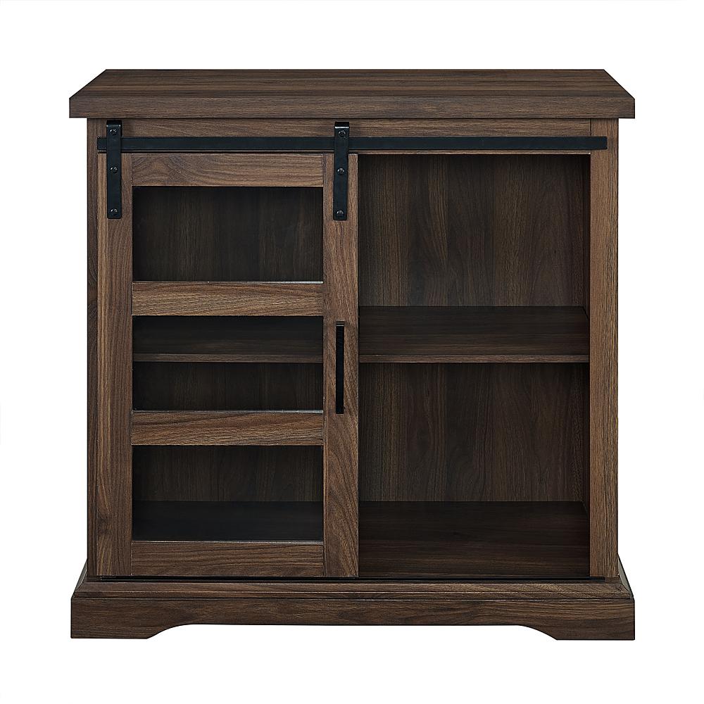 Walker Edison – Sliding Glass Door Modern Buffet Cabinet – Dark Walnut Within Rustic Walnut Buffets (View 18 of 30)