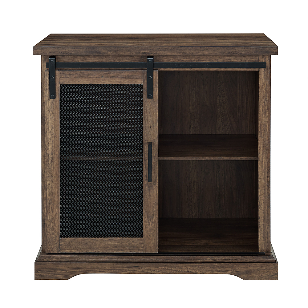 Walker Edison – Sliding Metal Mesh Door Modern Buffet Cabinet – Dark Walnut Regarding Modern Espresso Storage Buffets (View 30 of 30)