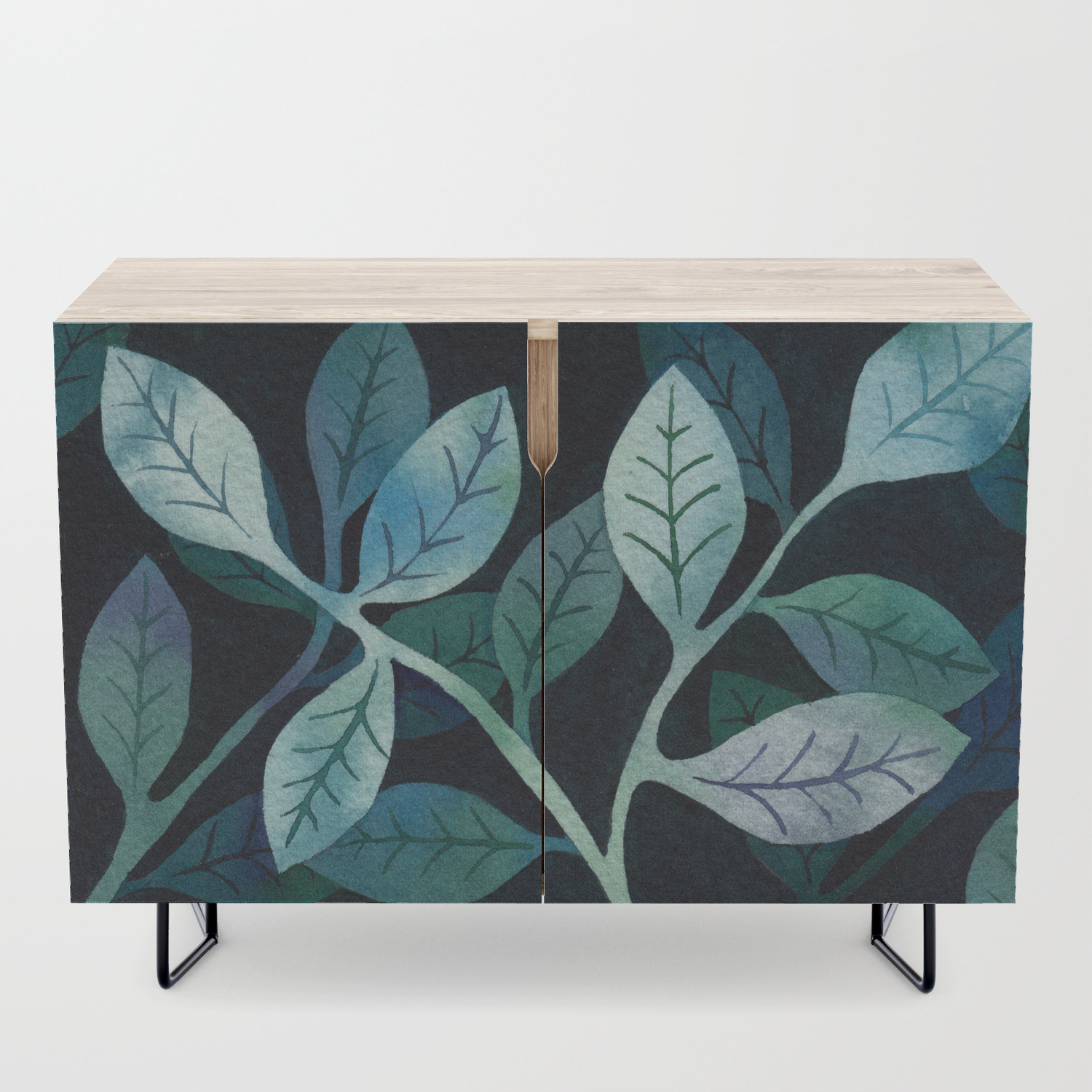 Watercolor Leaves In Shades Of Blue And Teal Credenza within Colorful Leaves Credenzas (Image 28 of 30)