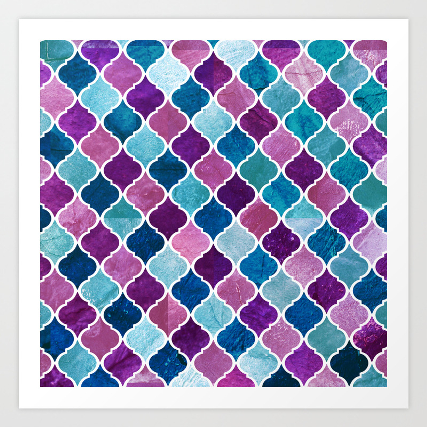 Watercolor Purple And Blue Trellis Pattern Art Print With Regard To Bluetrellis Credenzas (View 13 of 30)