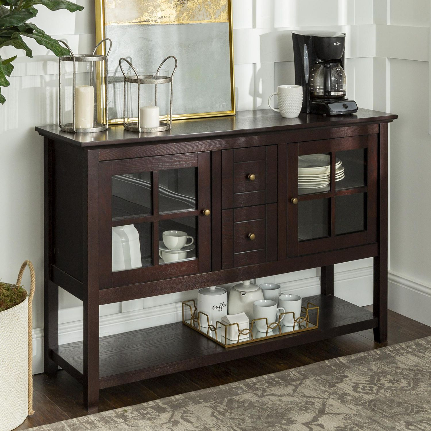 We Furniture Walker Edison Espresso Wood Console Table Buffet Tv Stand Inside Espresso Wood Multi Use Buffets (View 8 of 30)