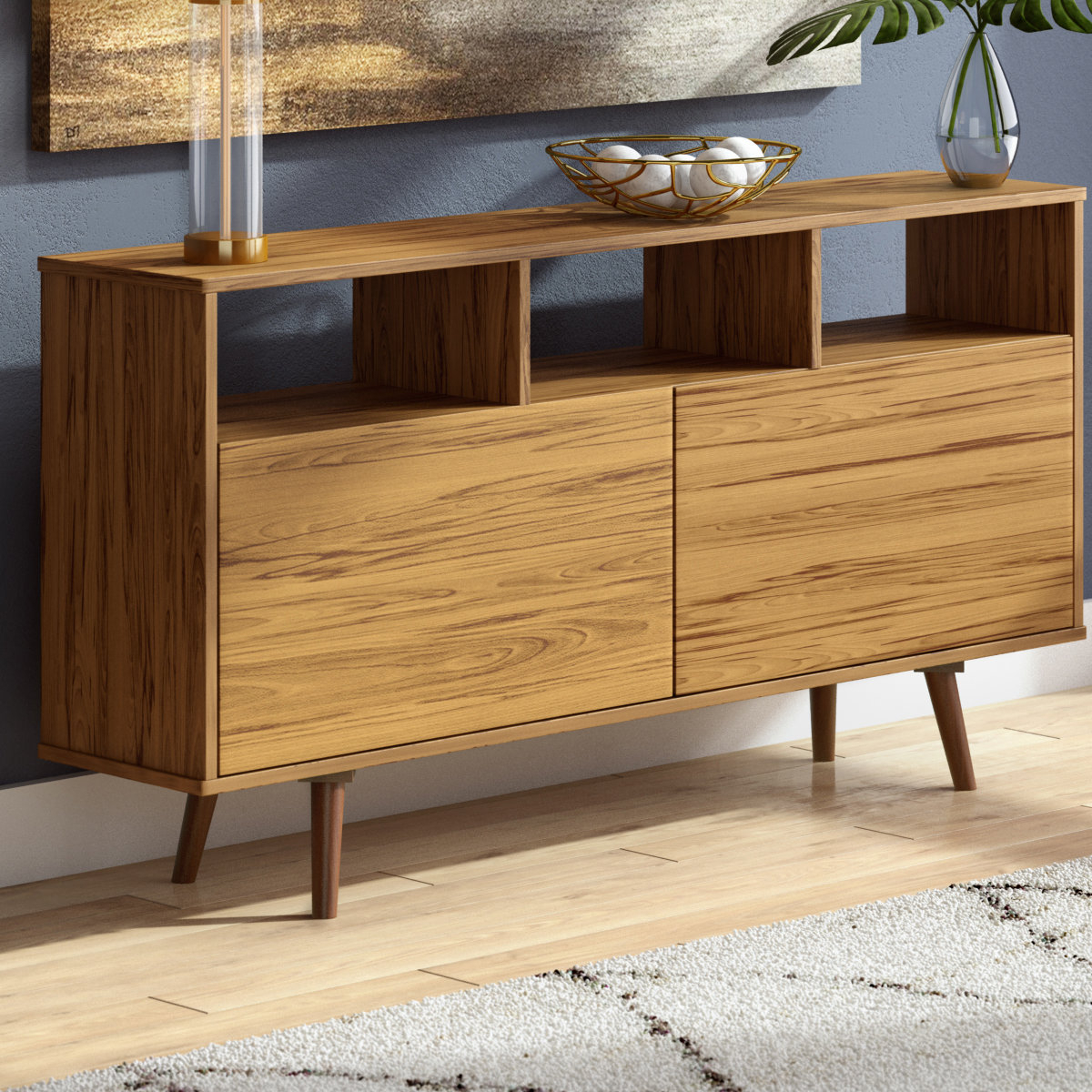 Weisgerber Contemporary Buffet Table Throughout Keiko Modern Bookmatch Sideboards (View 11 of 30)