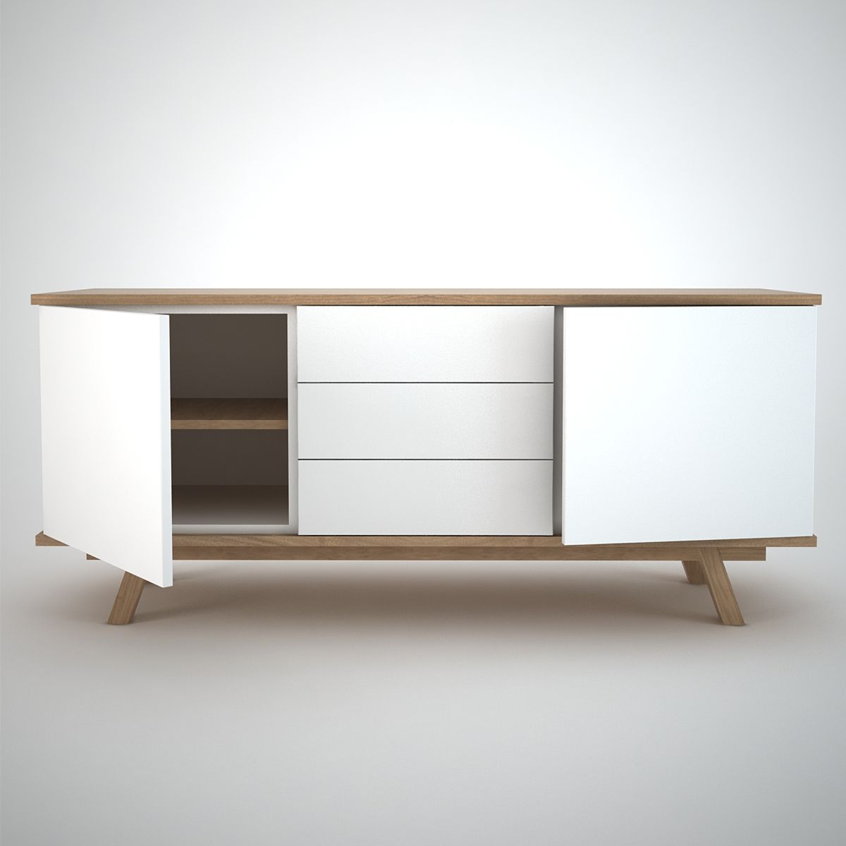 White And Oak Contemporary Sideboard (View 29 of 30)
