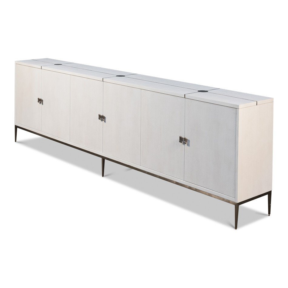 White Long Parisian Mid Century Buffet For Mid Century White Buffets (View 19 of 30)