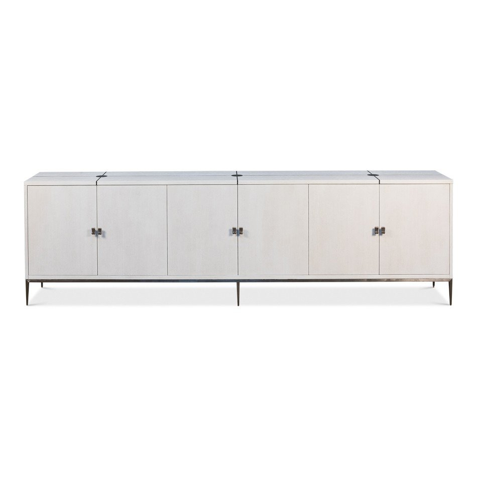 White Long Parisian Mid Century Buffet Throughout Mid Century White Buffets (View 21 of 30)
