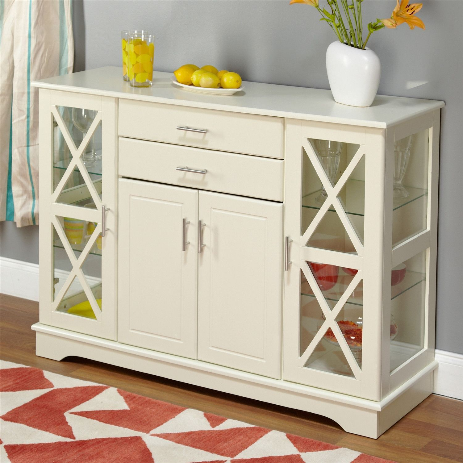 White Wood Buffet Sideboard Cabinet With Glass Display Doors Regarding Simple Living Antique White Kendall Buffets (View 4 of 30)