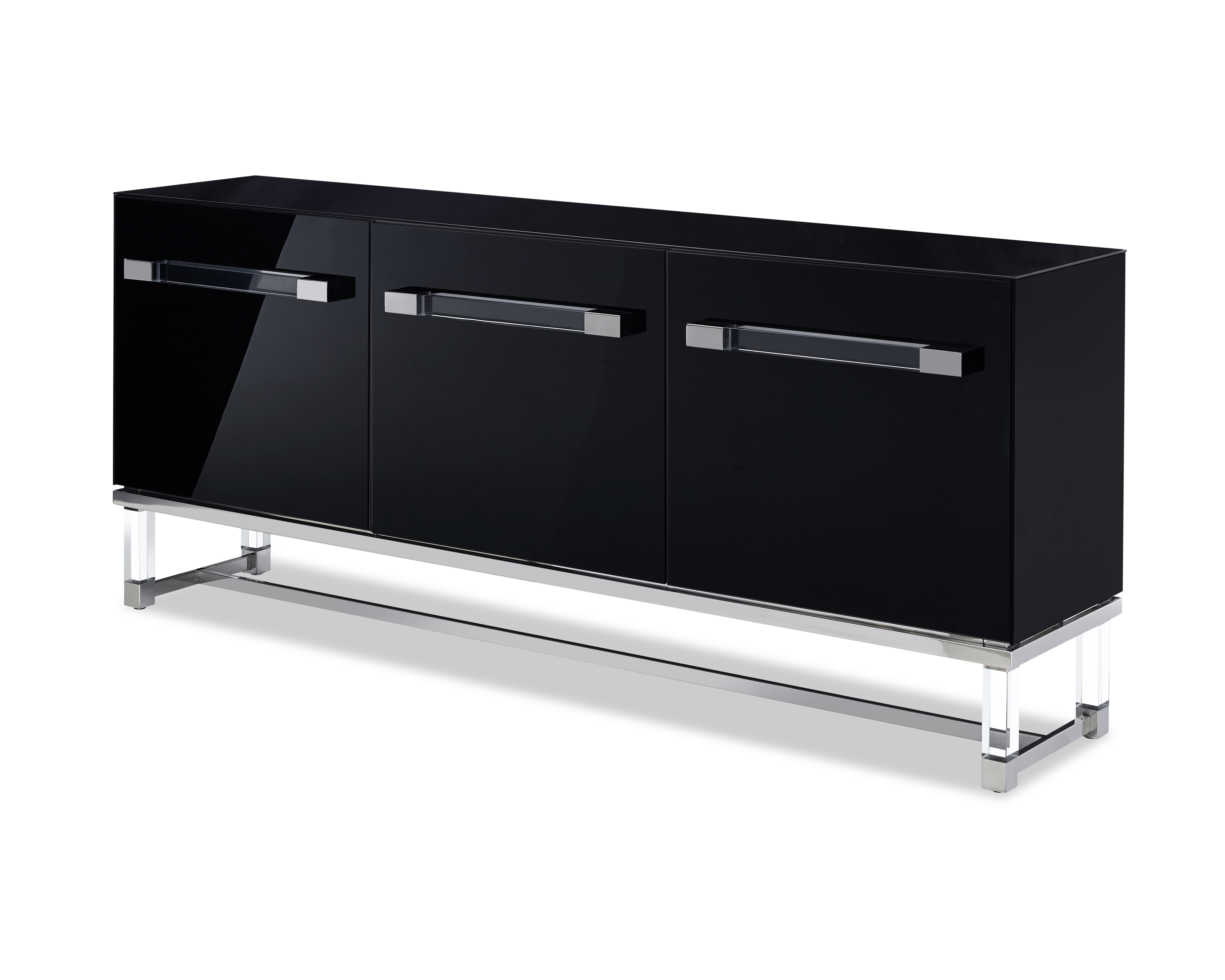 Whiteline Modern Living Black Brianna Contemporary High Gloss Lacquer Buffet For Contemporary Black Buffets (View 30 of 30)