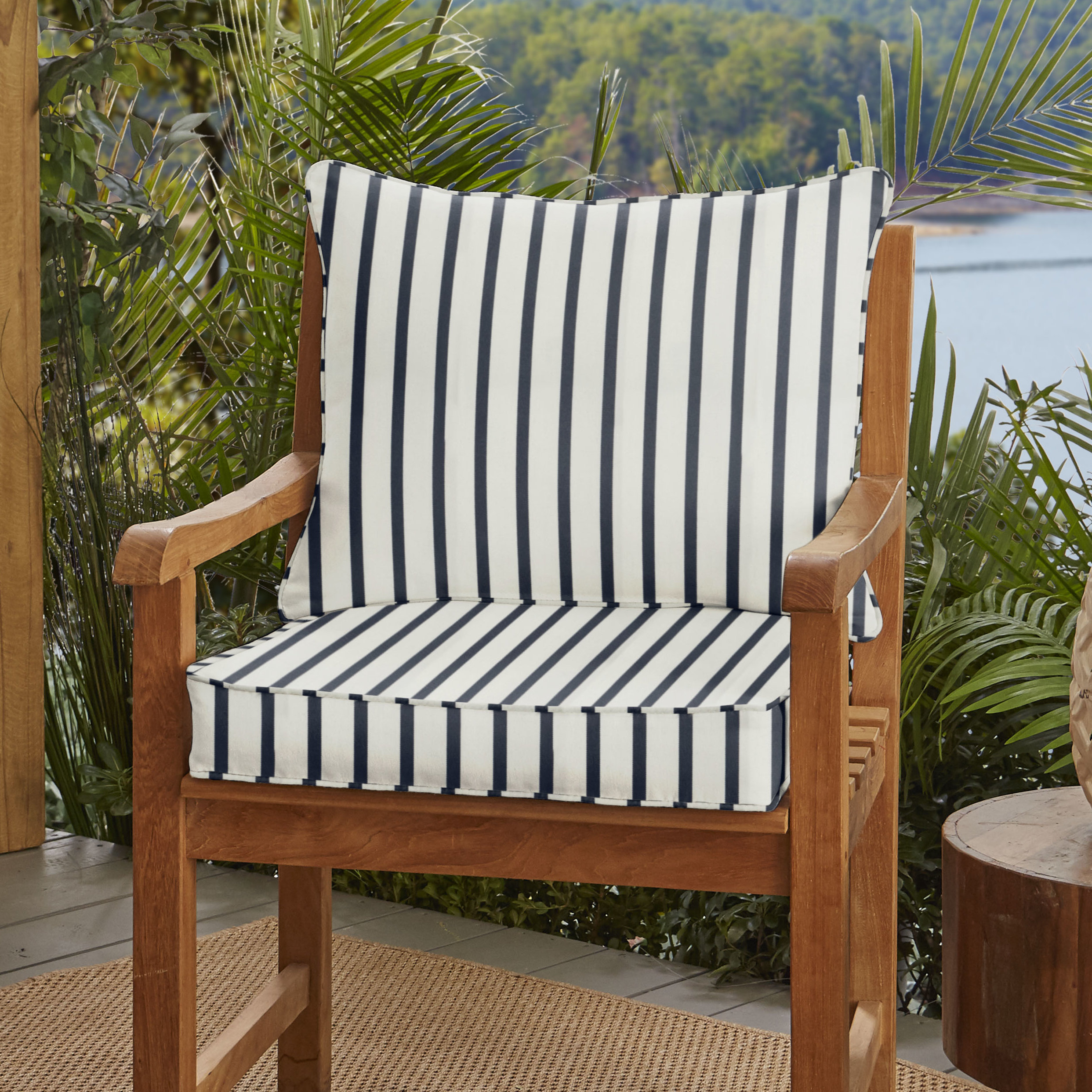Whitten Stripe Indoor/outdoor Sunbrella Lounge Chair Cushion Within Whitten Sideboards (View 23 of 30)