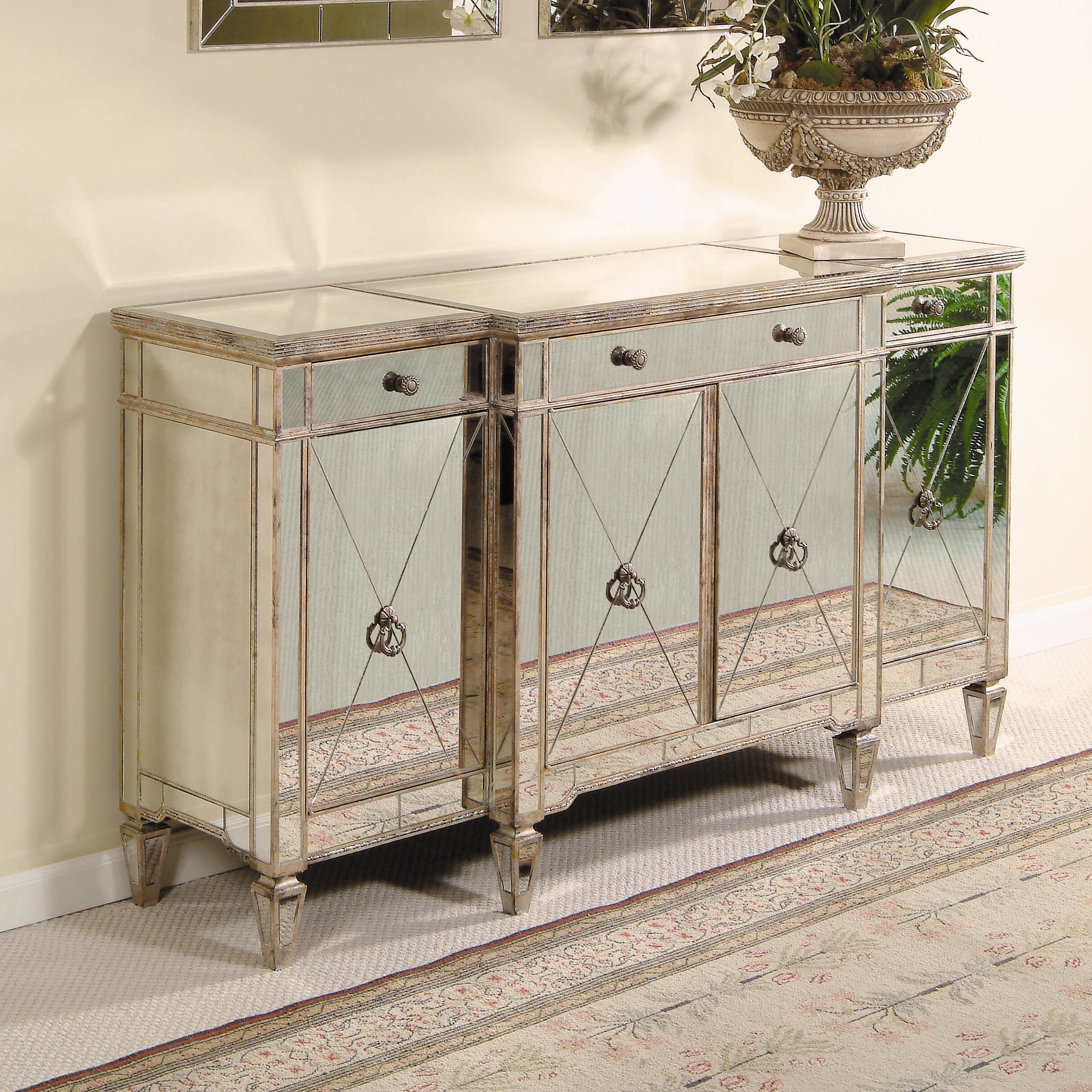 Willa Arlo Interiors Roehl Mirrored Sideboard & Reviews in 3-Piece Mirrored Buffets (Image 27 of 30)