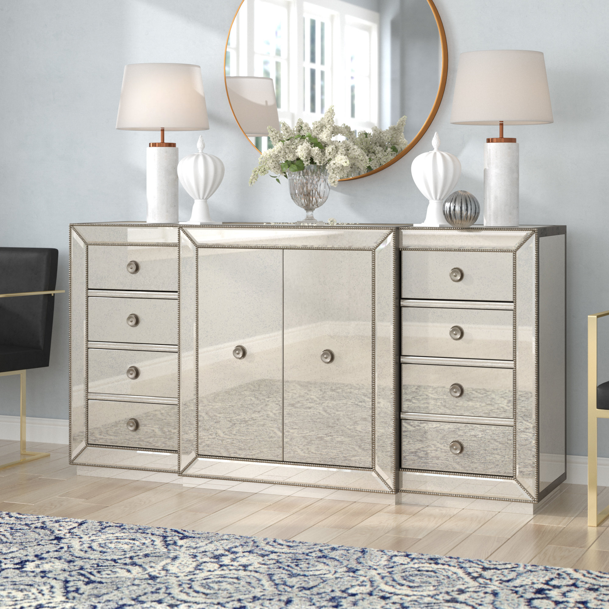 Willa Arlo Interiors Rogerson Mirrored Sideboard & Reviews within 3-Piece Mirrored Buffets (Image 28 of 30)