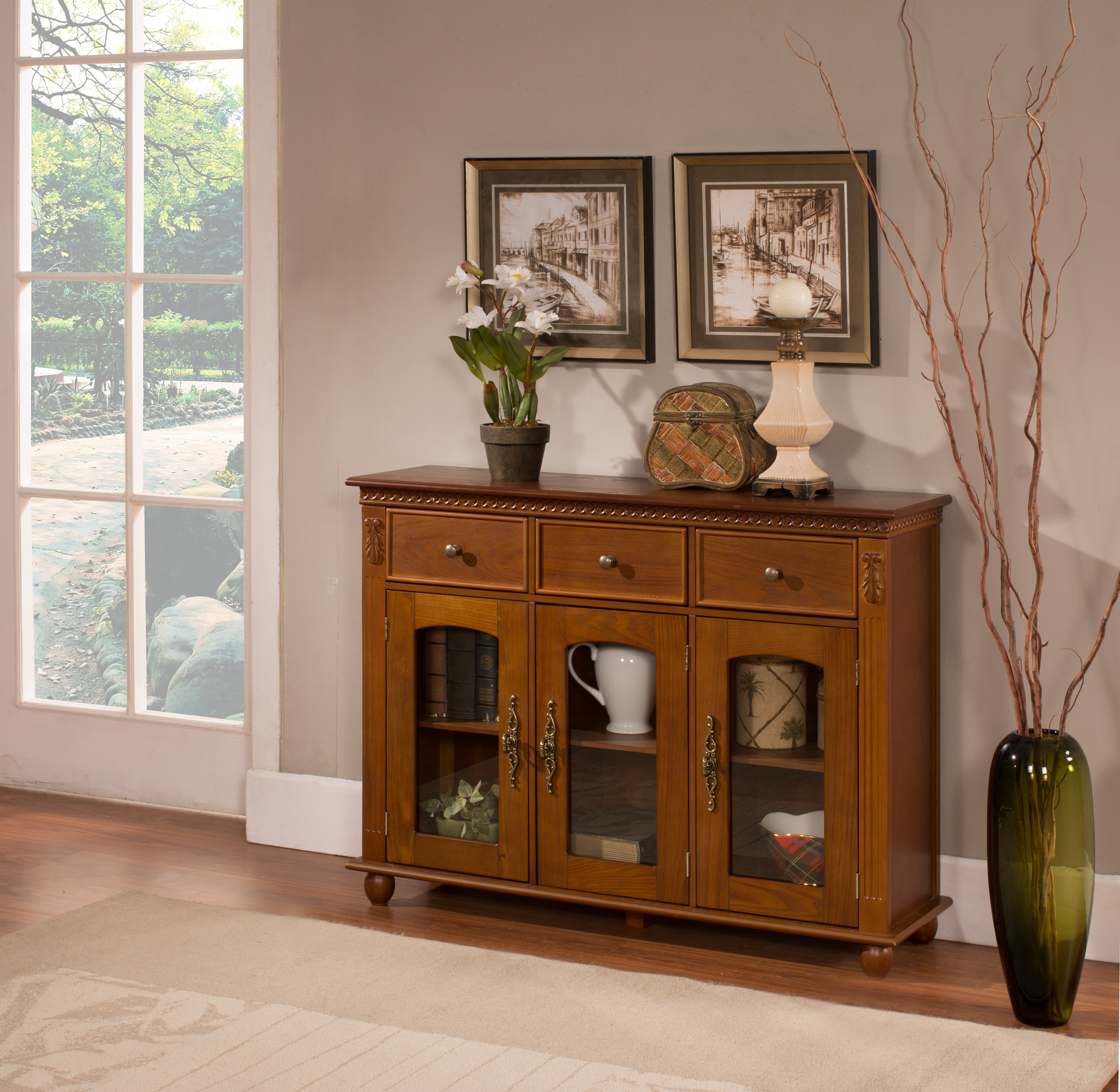 William Walnut Wood Contemporary Sideboard Buffet Console For Contemporary Wooden Buffets With One Side Door Storage Cabinets And Two Drawers (View 2 of 30)