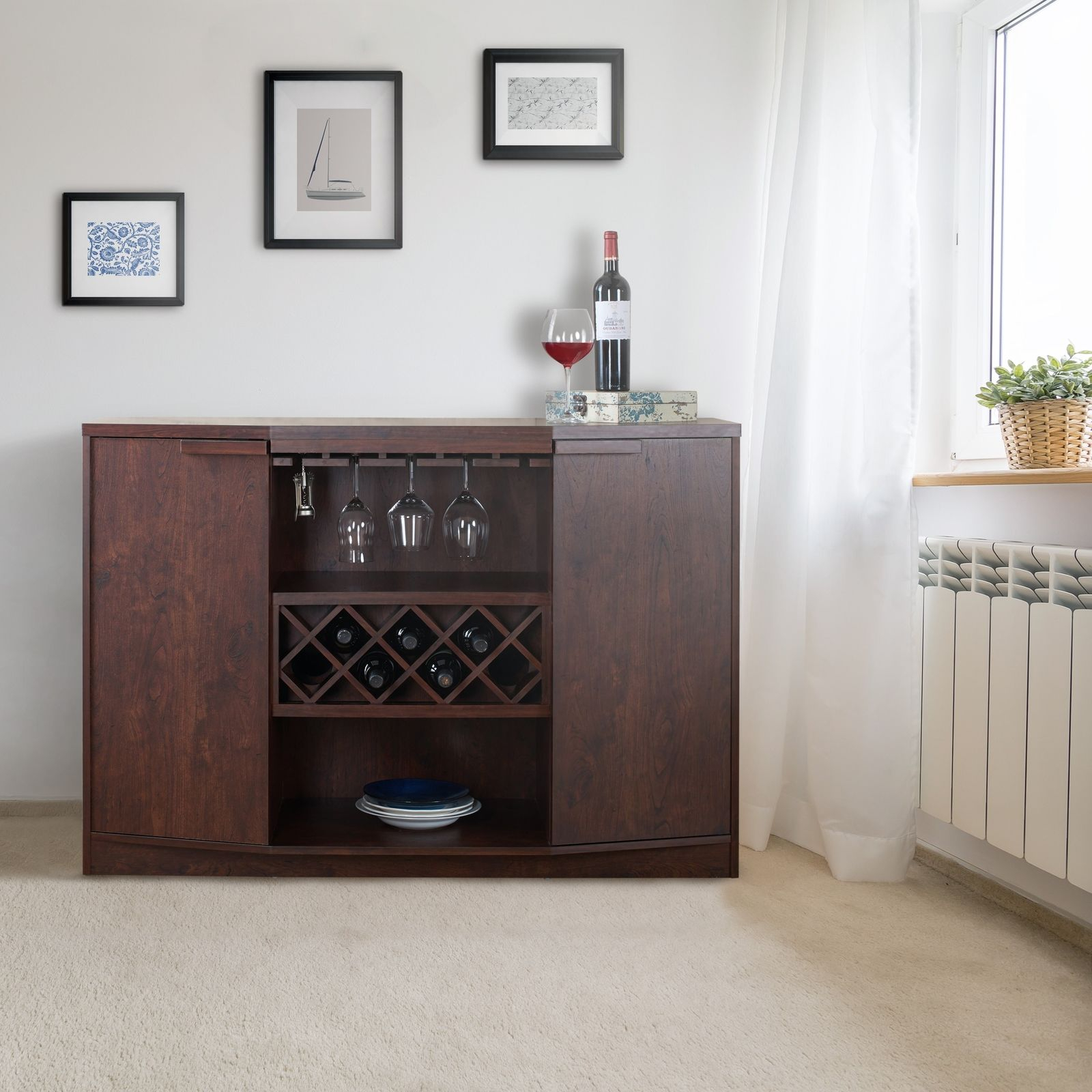 Wine Bar Buffet Cabinet Bottle Rack Wood Storage Hutch Furniture Walnut Brown Pertaining To Simple Living Layla Black Buffets (View 22 of 30)