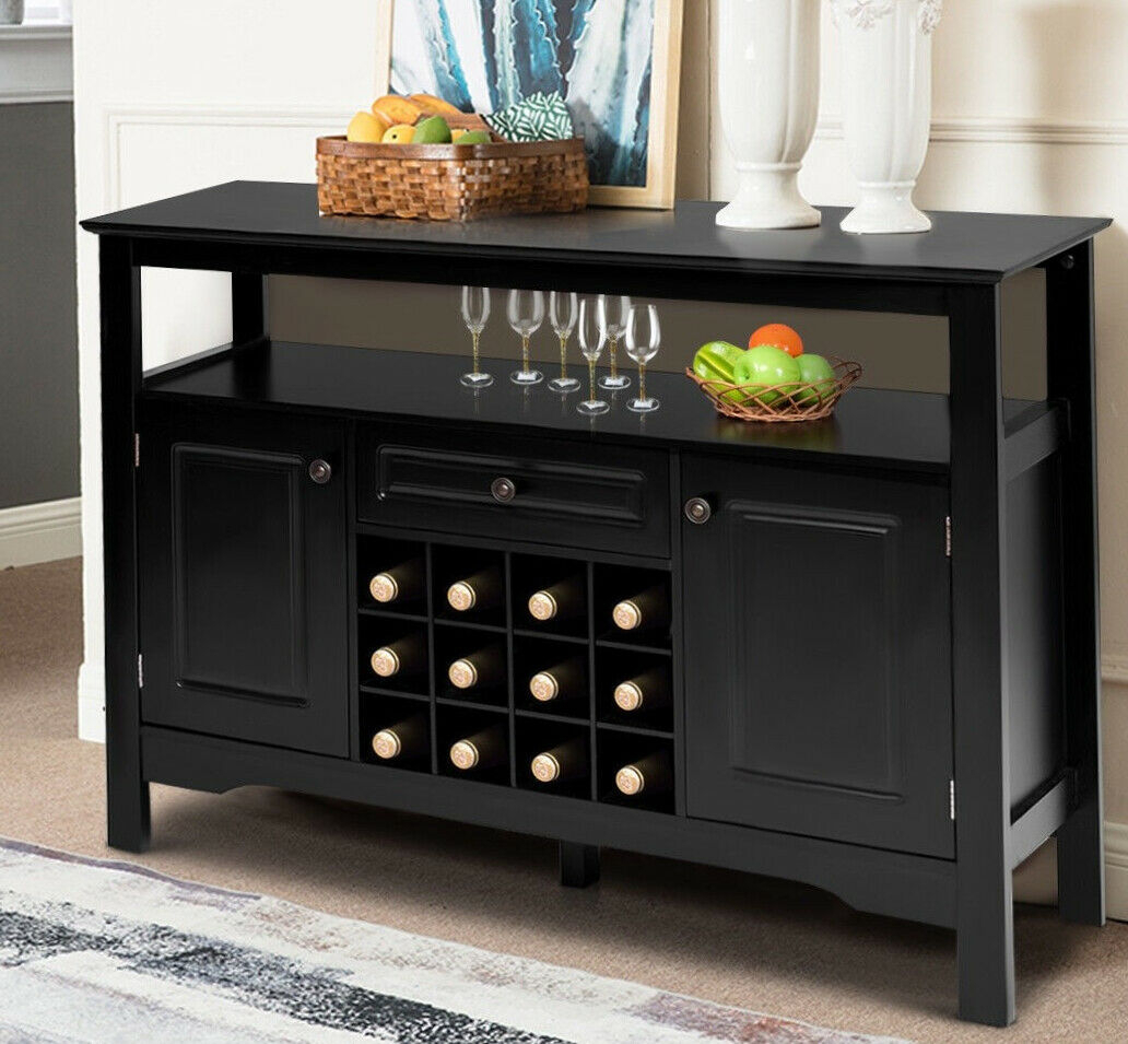 Wine Cabinet Home Bar Black Wood Bottle Rack Liquor Storage Holder Buffet Table Throughout Contemporary Rolling Buffets (View 14 of 30)
