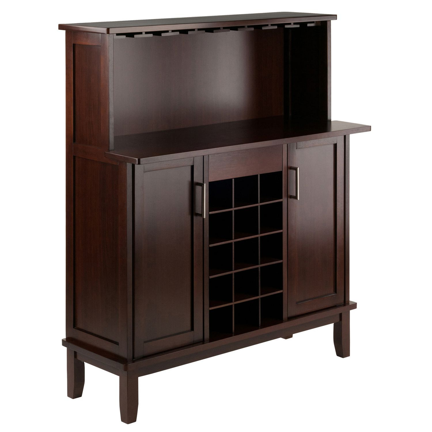 Winsome Beynac Buffet Cabinet With Bar Counter Top in Solid And Composite Wood Buffets In Cappuccino Finish (Image 24 of 30)