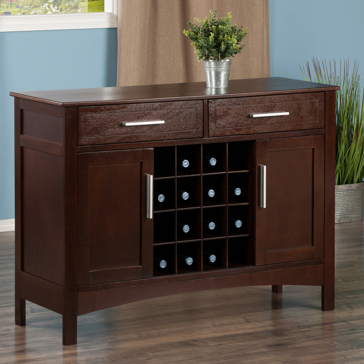 Winsome Wood Gordon Buffet Cabinet/ Sideboard, Cappuccino Finish With Regard To Cappuccino Finished Buffets (View 29 of 30)