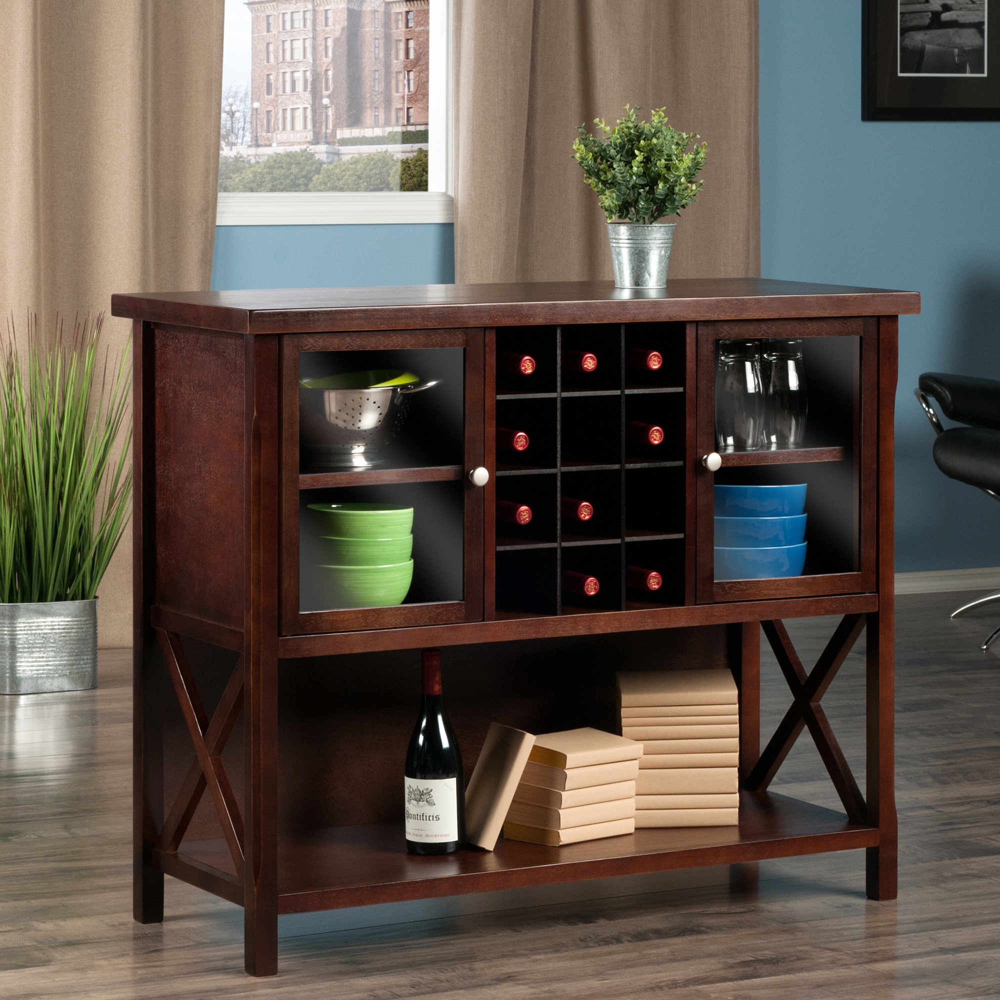 Winsome Wood Xola Buffet Display Cabinet, Cappuccino Finish With Regard To Cappuccino Finished Buffets (View 30 of 30)