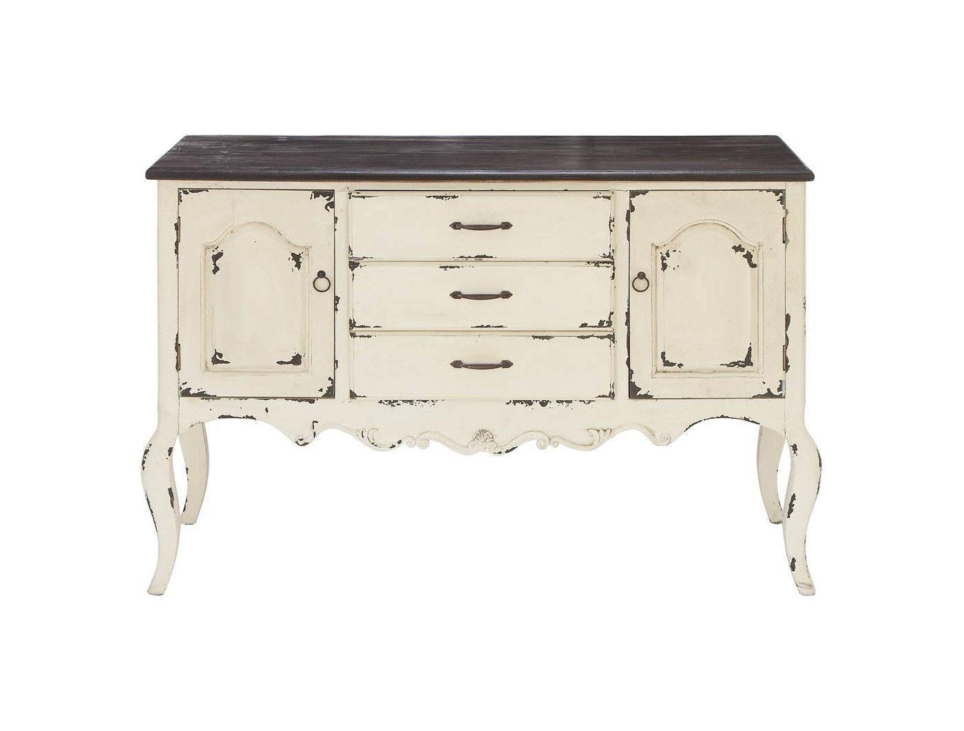 Wood 2 Doors 3 Drawers Buffet White/brown - Olivia & May within Industrial Style 3-Drawer Buffets (Image 29 of 30)