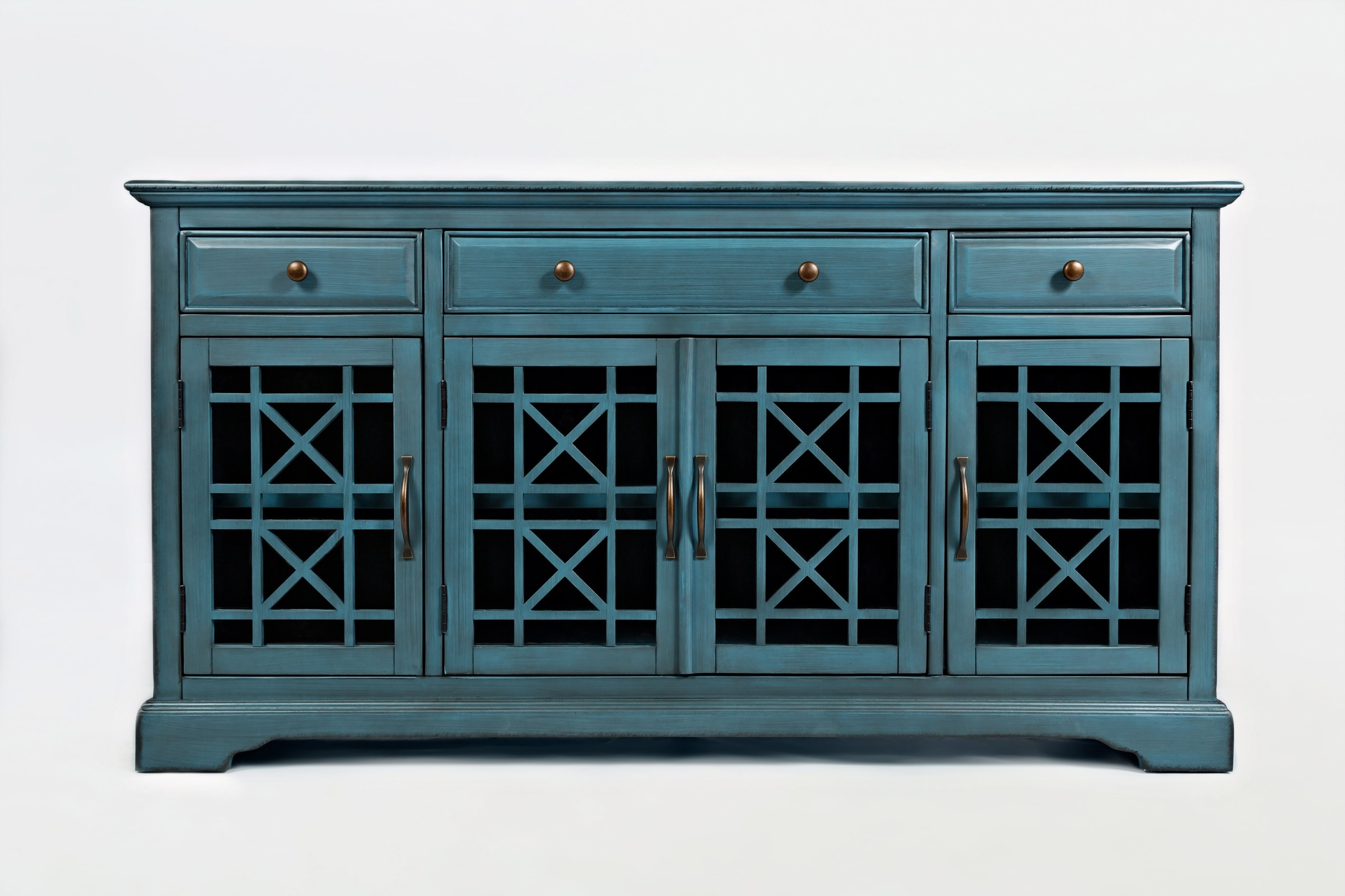 """Wooden 60"""" Media Unit With 3 Drawers And 4 Doors, Antique With Regard To Mauldin 3 Door Sideboards (View 8 of 30)"""