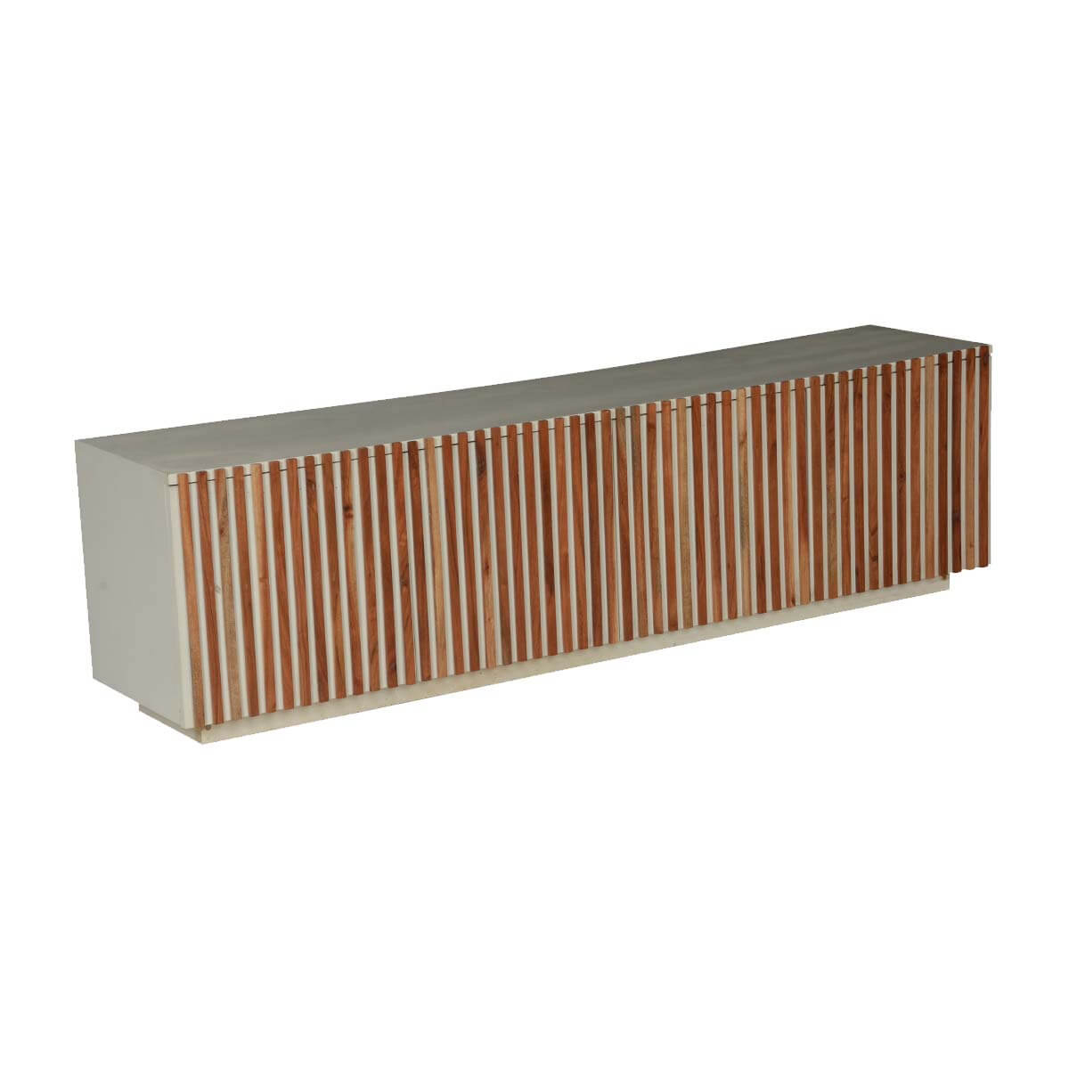 Wooden Stripes Mango Wood 4 Section Large Credenza Cabinet with regard to Multi Stripe Credenzas (Image 30 of 30)