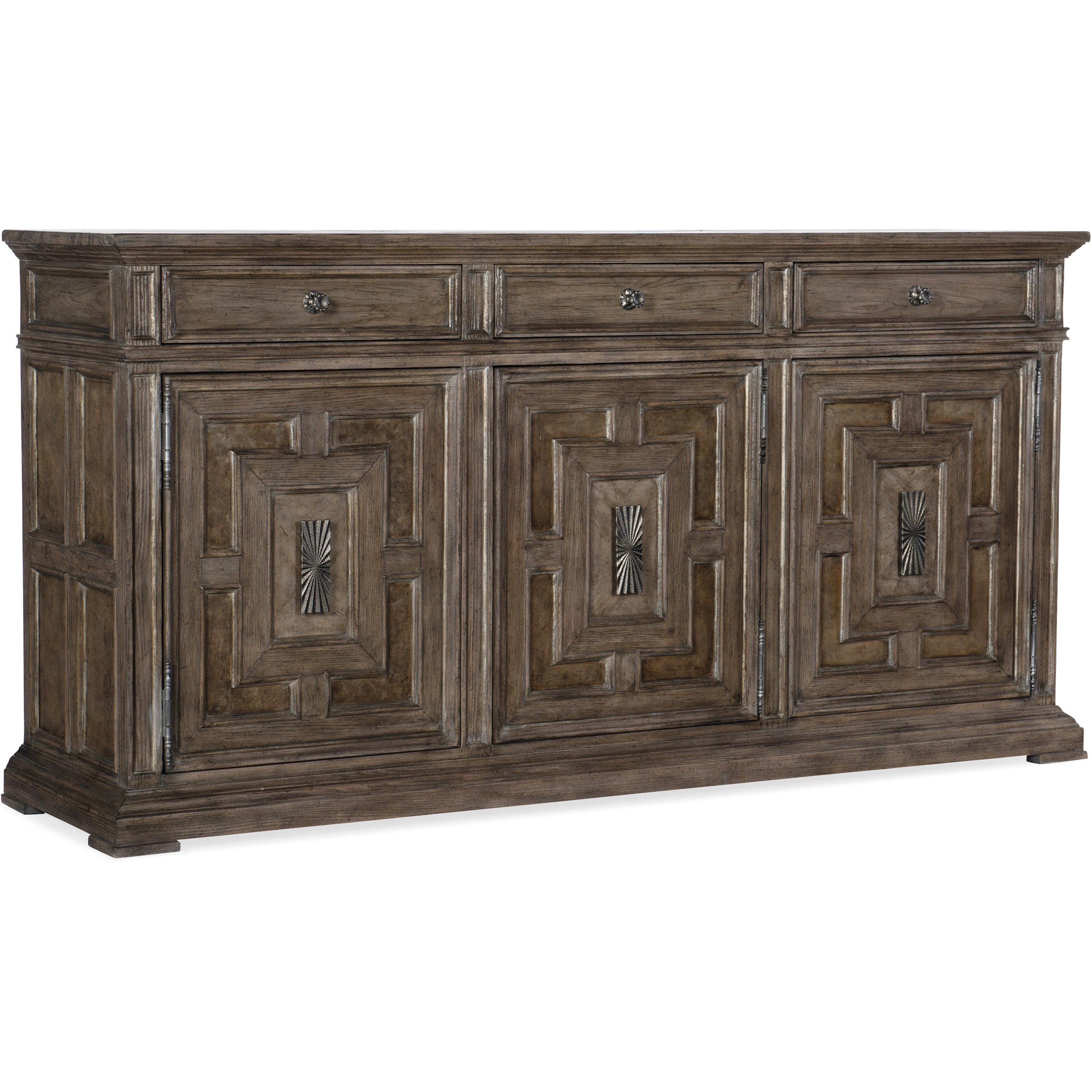 Woodlands Traditional 3-Door And 3-Drawer Buffethooker Furniture At  Dunk & Bright Furniture with 3-Drawer Storage Buffets (Image 30 of 30)