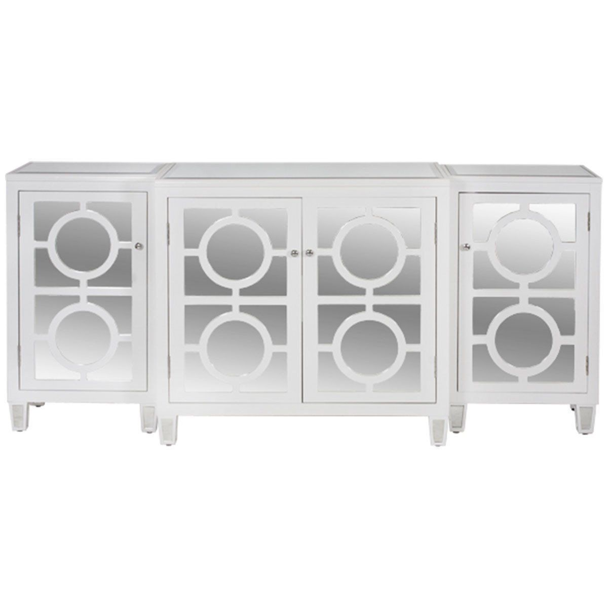 Worlds Away 3-Piece Oak Veneer And Mirror Top Buffet Ava Chv pertaining to 3-Piece Mirrored Buffets (Image 30 of 30)