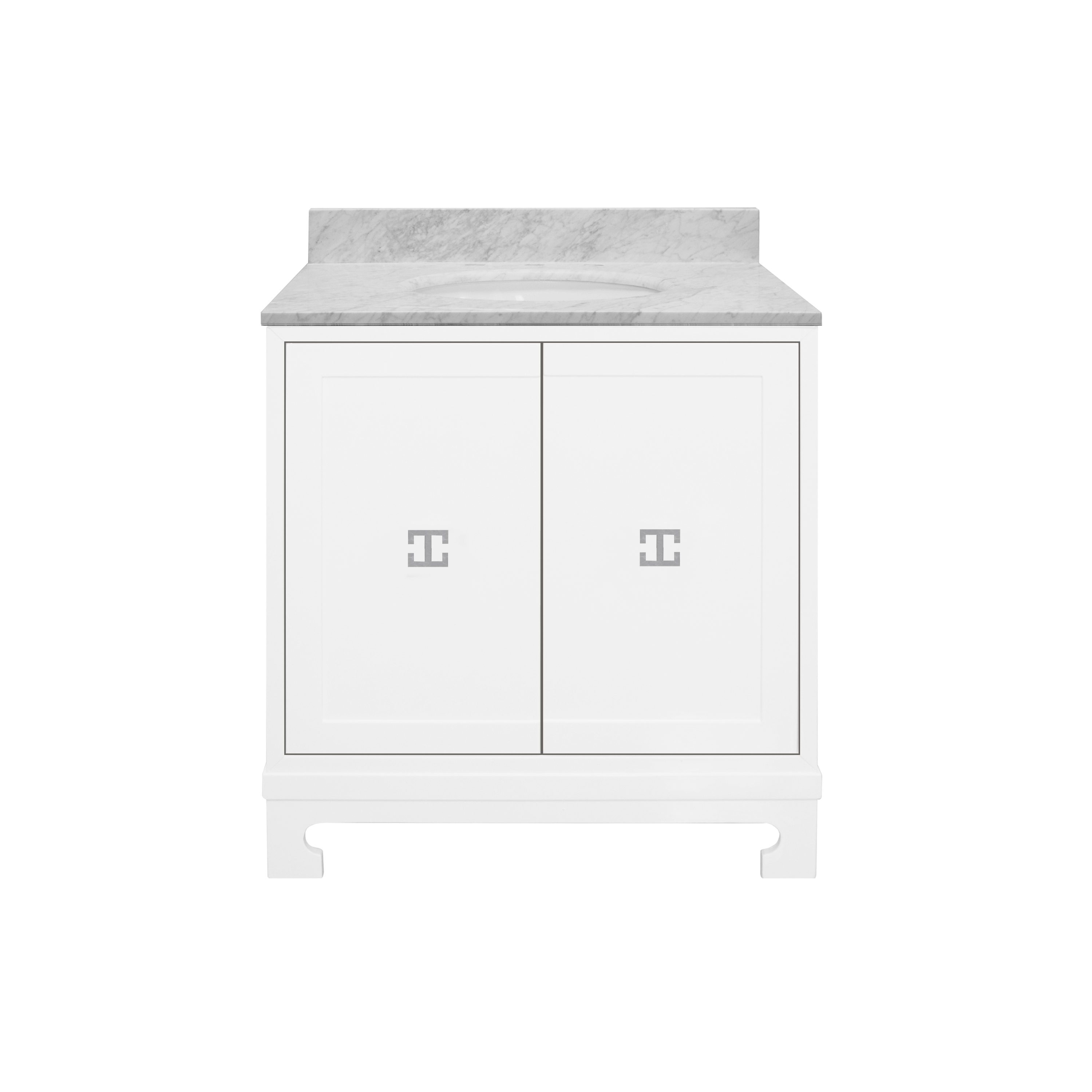 Worlds Away Candace White Bath Vanity, Nickel Within Candace Door Credenzas (View 29 of 30)