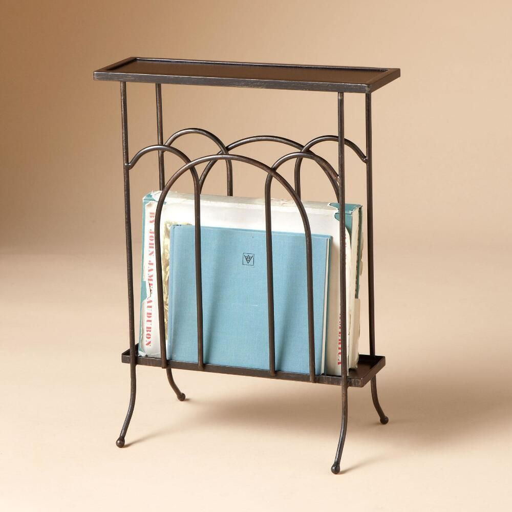 Wrought Iron Magazine Side Table -- A Slim Iron Table With A inside Madison Park Kagen Grey Sideboards (Image 30 of 30)