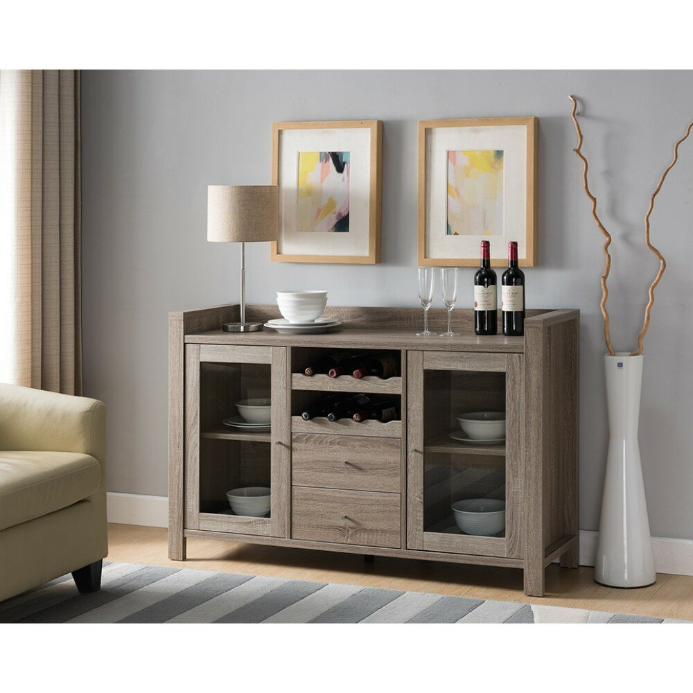 Wrought Studio Hoff Wooden Buffet Table & Reviews | Wayfair Pertaining To Contemporary Style Wooden Buffets With Two Side Door Storage Cabinets (View 30 of 30)