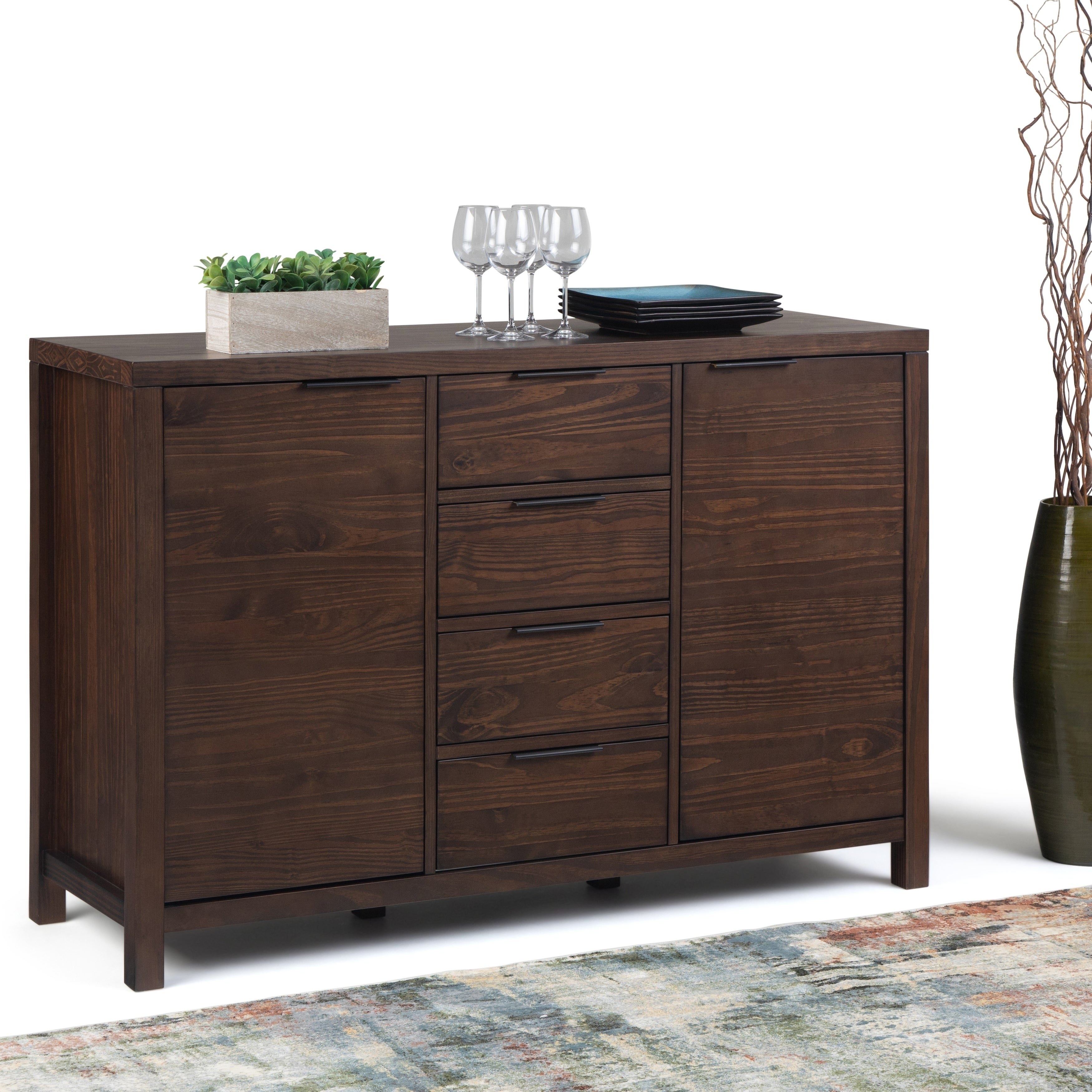 Wyndenhall Fabian Solid Wood 54 Inch Wide Contemporary Modern Sideboard Buffet In Warm Walnut Brown Within Strick & Bolton Dallas Walnut Buffets (View 8 of 30)