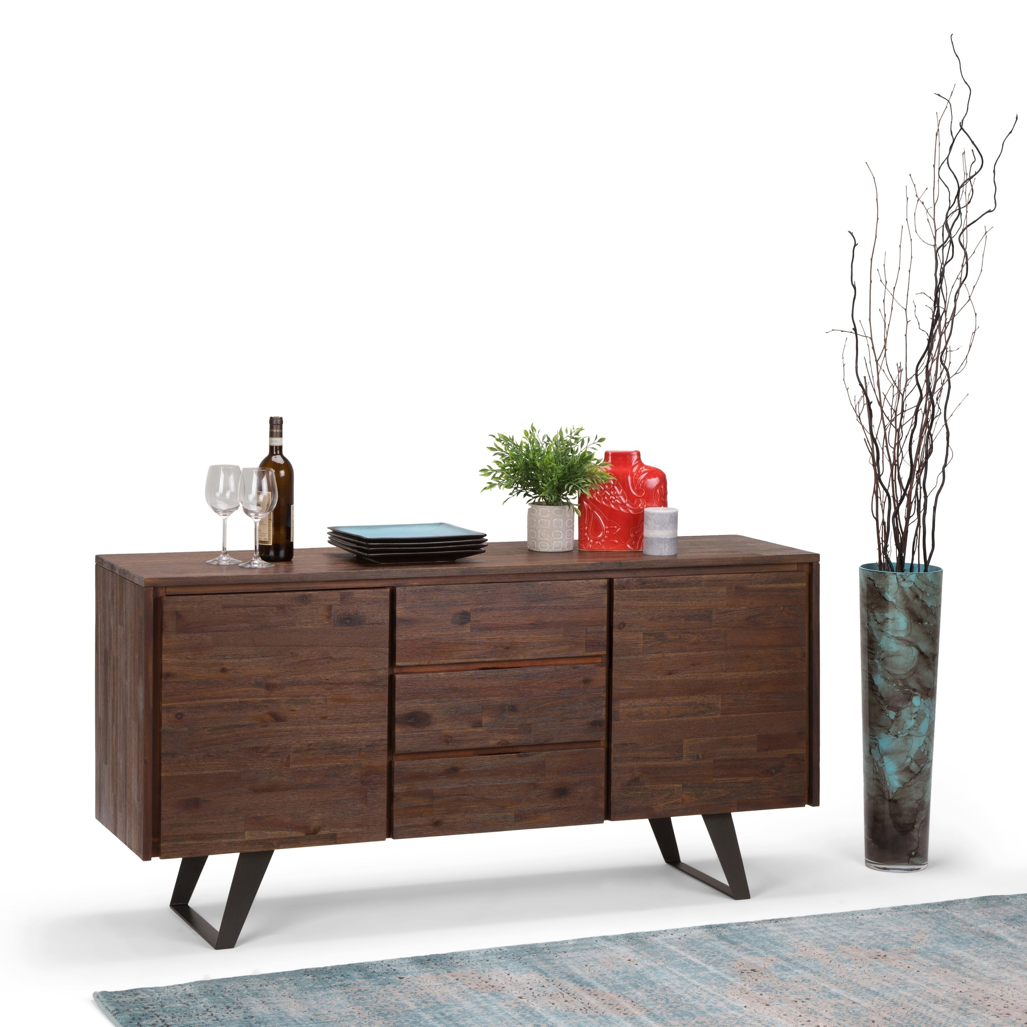 Wyndenhall Mitchell Solid Acacia Wood And Metal 60 Inchwide Modern  Industrial Sideboard Buffet In Distressed Charcoal Brown pertaining to Industrial Style 3-Drawer Buffets (Image 30 of 30)