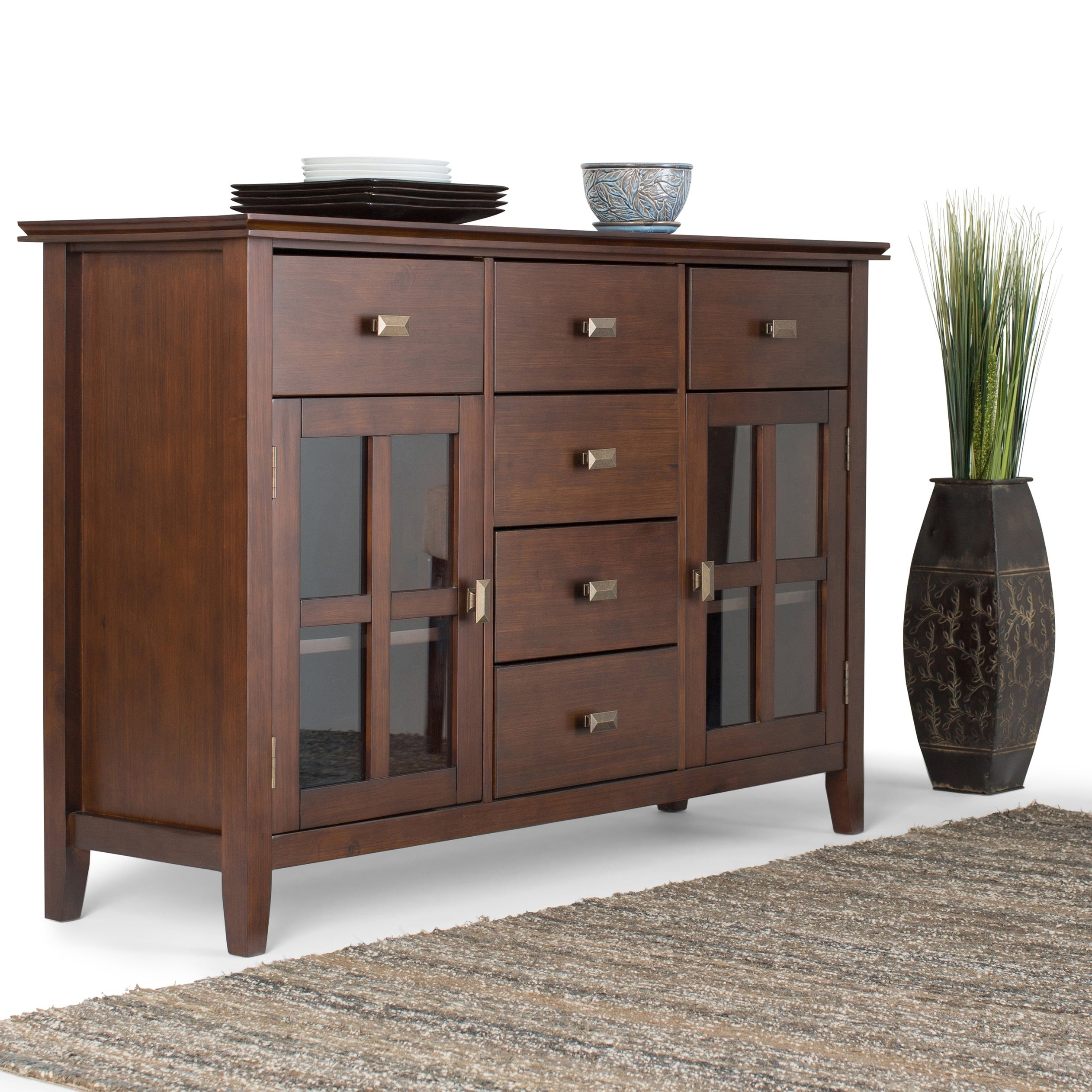 Wyndenhall Stratford Solid Wood 54 Inch Wide Contemporary Sideboard Buffet Credenza – 54 Inch Wide For Contemporary Wooden Buffets With One Side Door Storage Cabinets And Two Drawers (View 3 of 30)