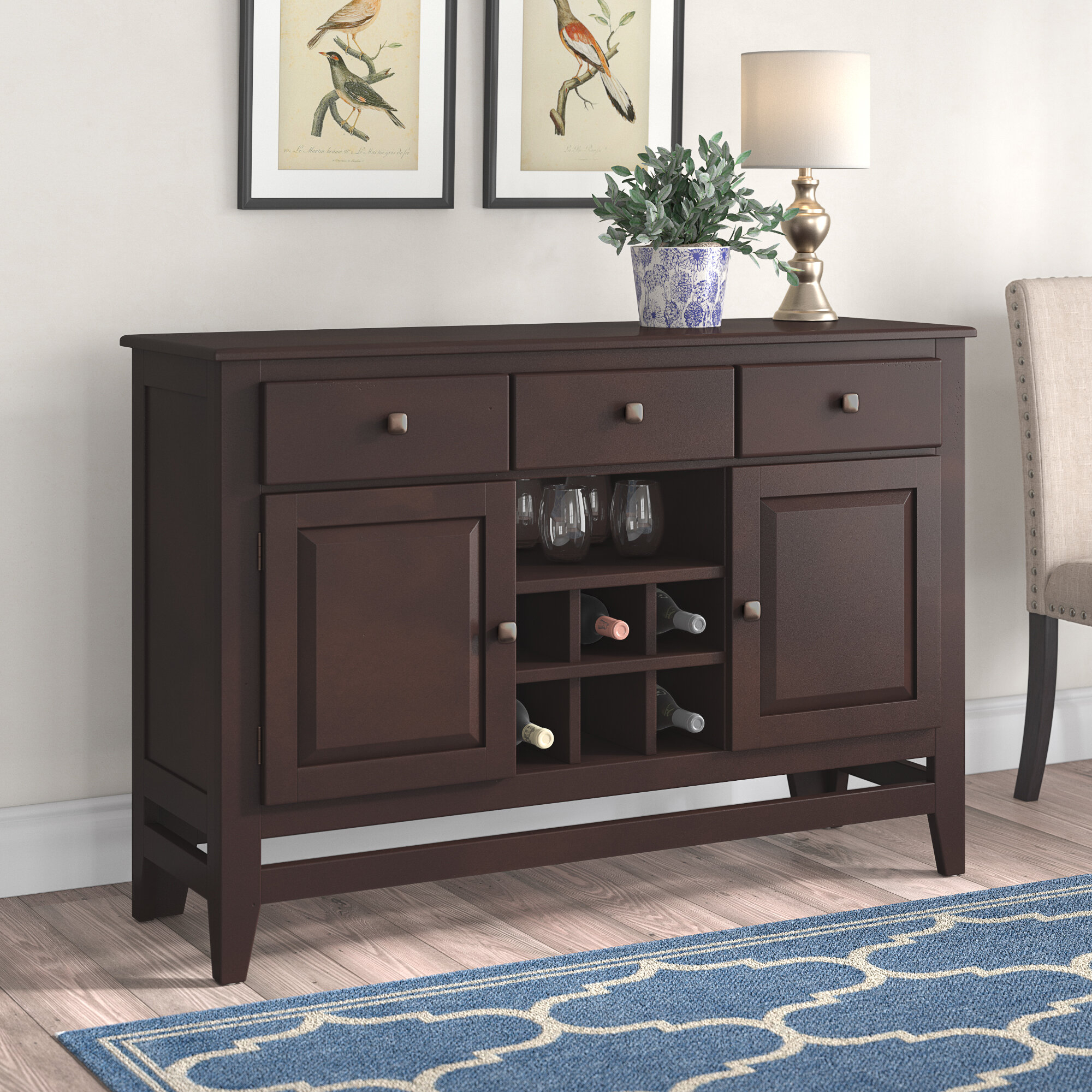 Wynwood Sideboard in Solid And Composite Wood Buffets In Cappuccino Finish (Image 30 of 30)