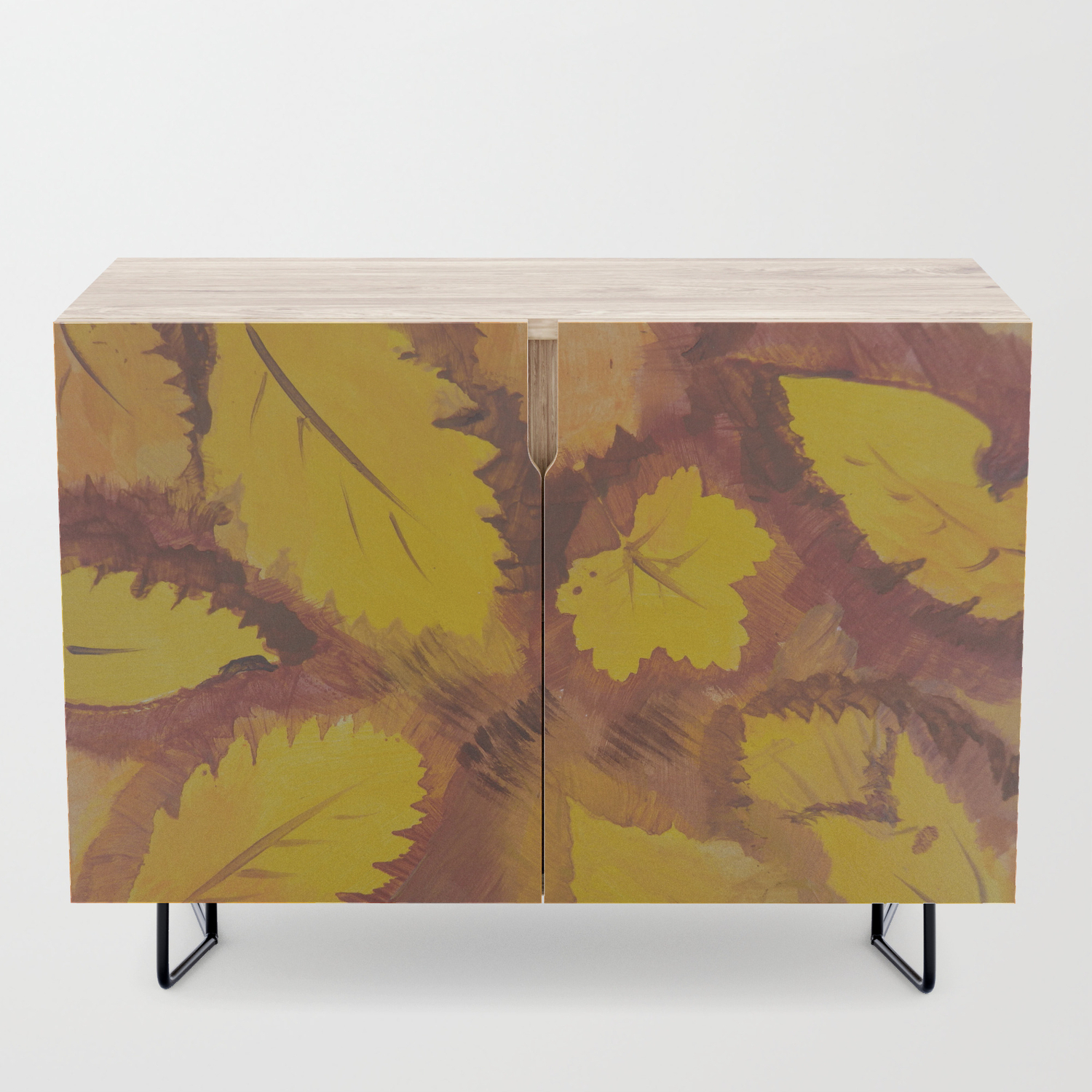 Yellow Autumn Leaf And A Red Pear Painting Fall Pattern Inspirednature  Colors Credenza Throughout Colorful Leaves Credenzas (Photo 4 of 30)