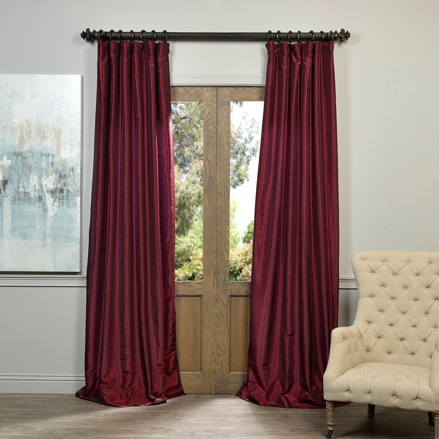 1 Piece 120 Inch Ruby Vintage Textured Faux Dupioni Silk Inside Vintage Textured Faux Dupioni Silk Curtain Panels (Gallery 10 of 30)
