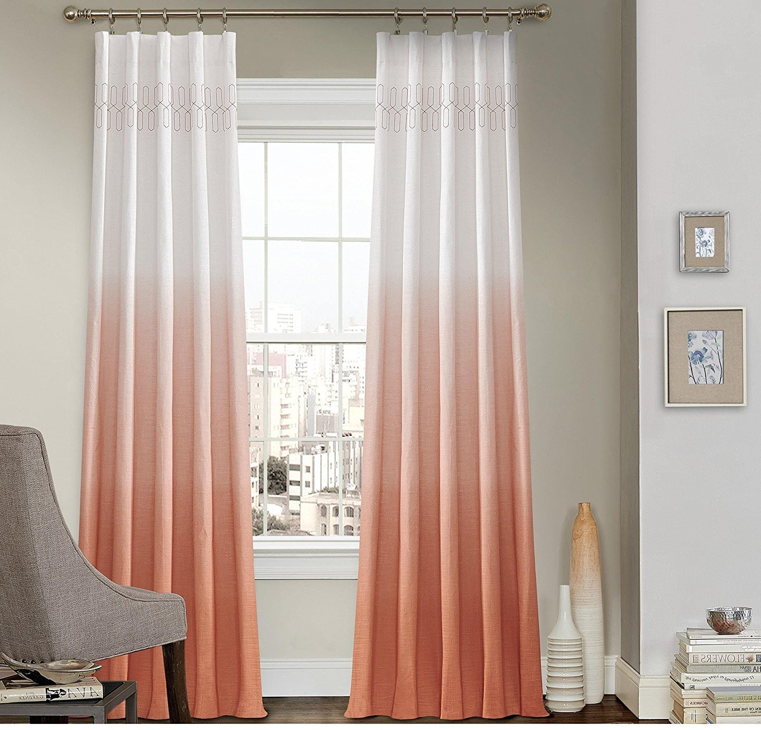 1 Piece 63 Inch Girls Melon Color Ombre Embroidered Curtain With Ombre Embroidery Curtain Panels (Photo 7 of 20)