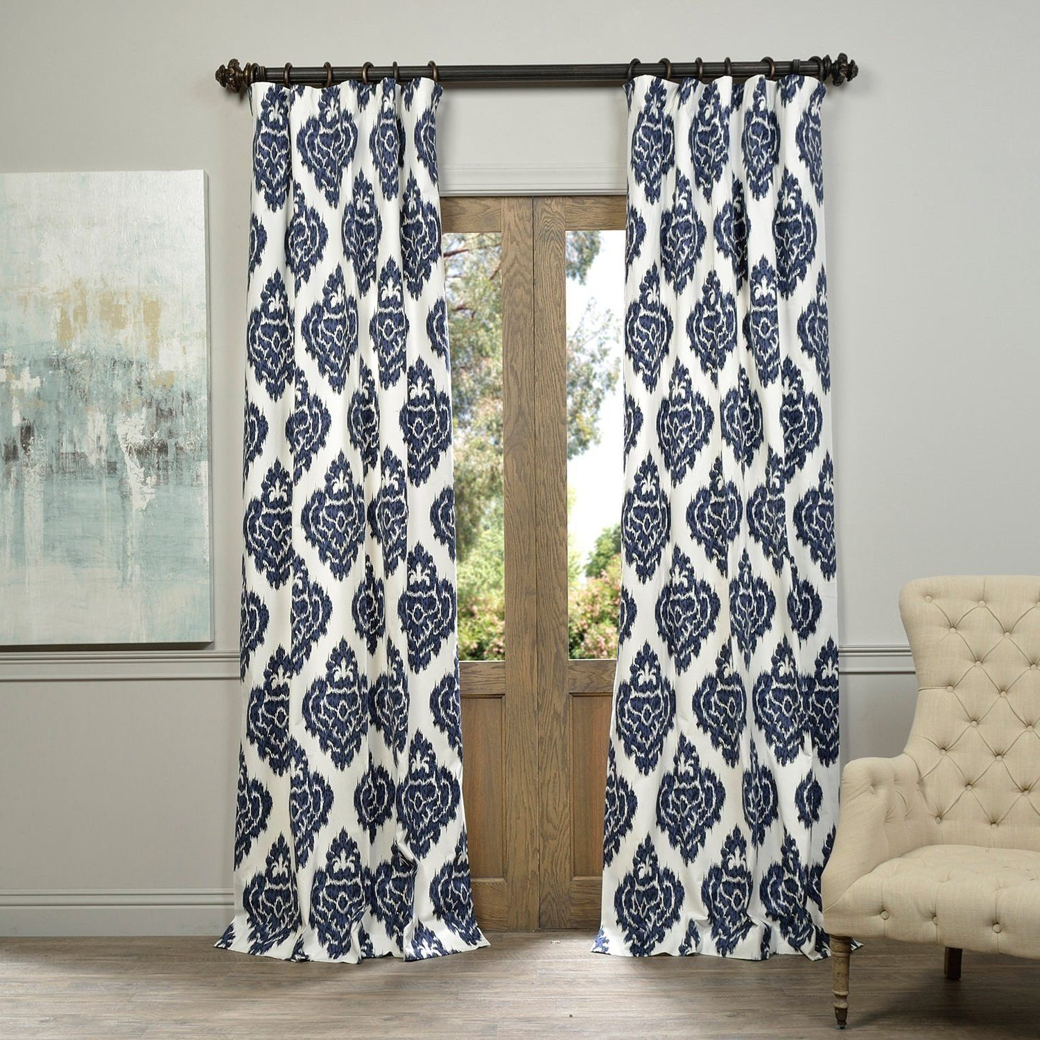 1 Piece 96 Inch Blue Solid Color Ikat Printed Cotton Girls Inside Ikat Blue Printed Cotton Curtain Panels (View 1 of 20)
