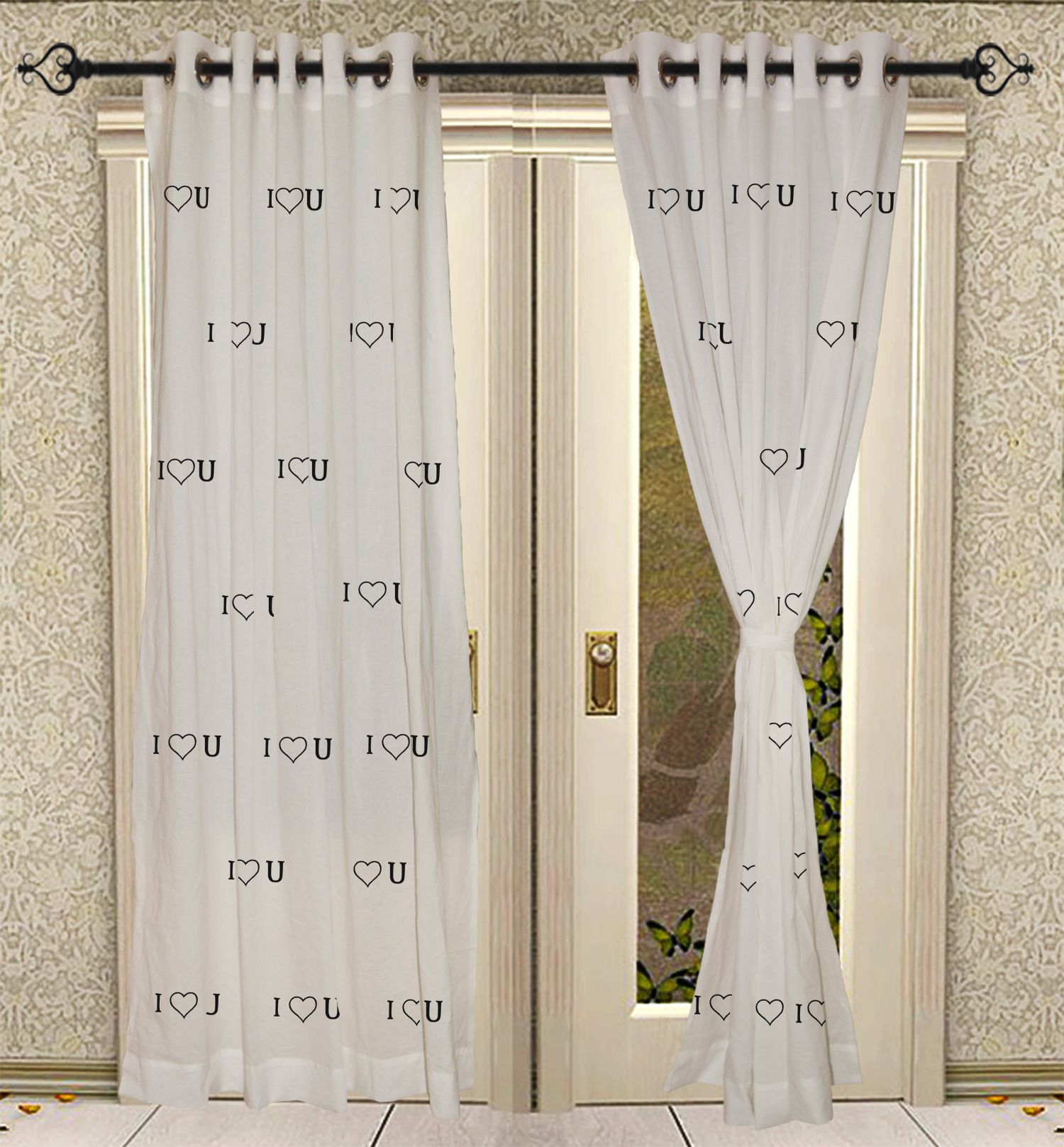 100% Solid Cotton Hand Block Printed White Eyelet Window Door Curtains 2 Pcs Panel Set Within Solid Cotton Curtain Panels (View 1 of 30)