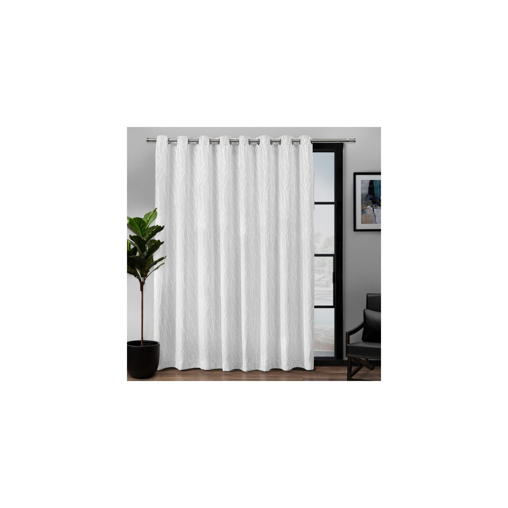 """108""""x84"""" Forest Hill Patio Woven Blackout Grommet Top Single Regarding Patio Grommet Top Single Curtain Panels (View 12 of 20)"""