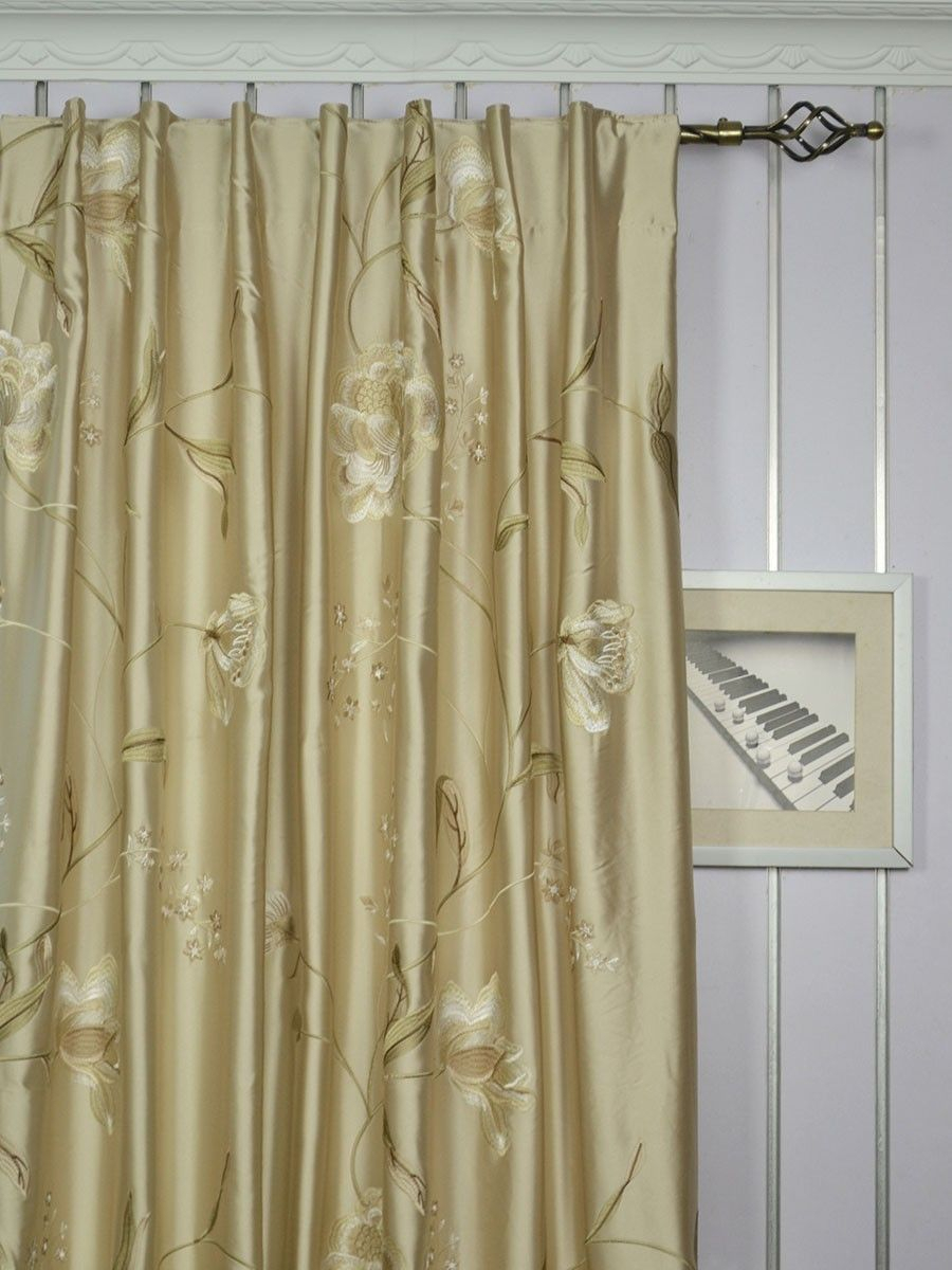 120 Inch Extra Wide Morgan Deep Champagne Embroidered Floral Inside Ofloral Embroidered Faux Silk Window Curtain Panels (Gallery 5 of 20)
