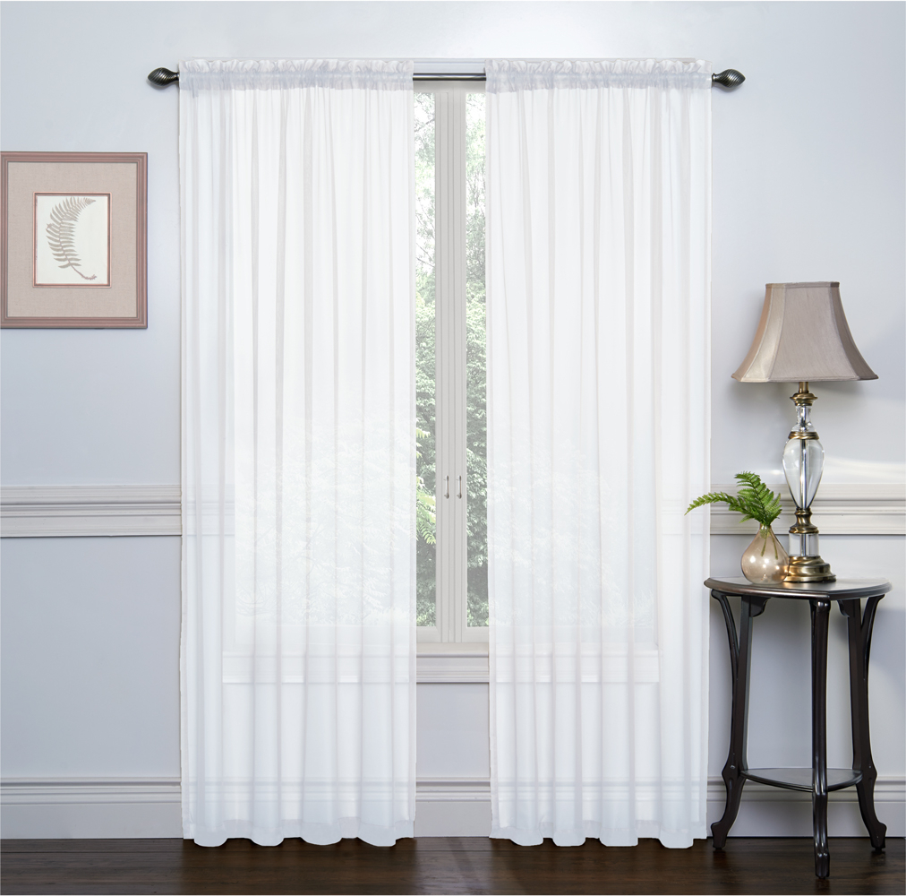 2 Pack: Ultra Luxurious High Thread Rod Pocket Sheer Voile Window Curtains Goodgram® - White in Luxury Collection Venetian Sheer Curtain Panel Pairs (Image 1 of 20)
